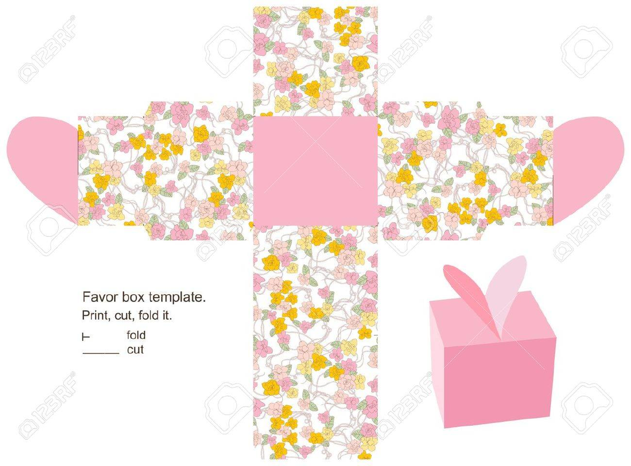 favor box die cut floral pattern empty label royalty free cliparts
