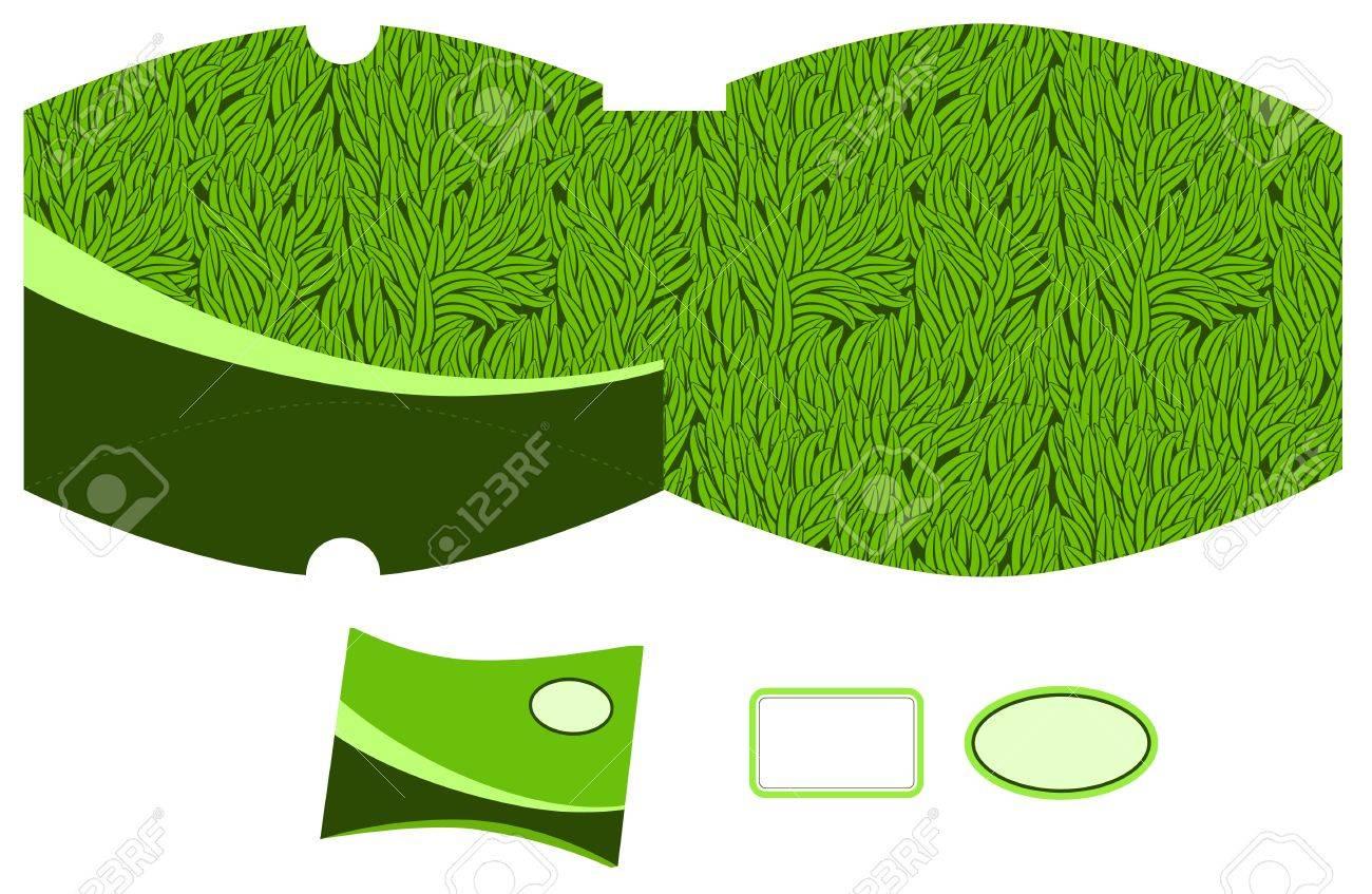 Pillow Box template. Grass pattern. Empty label. Stock Vector - 14088180