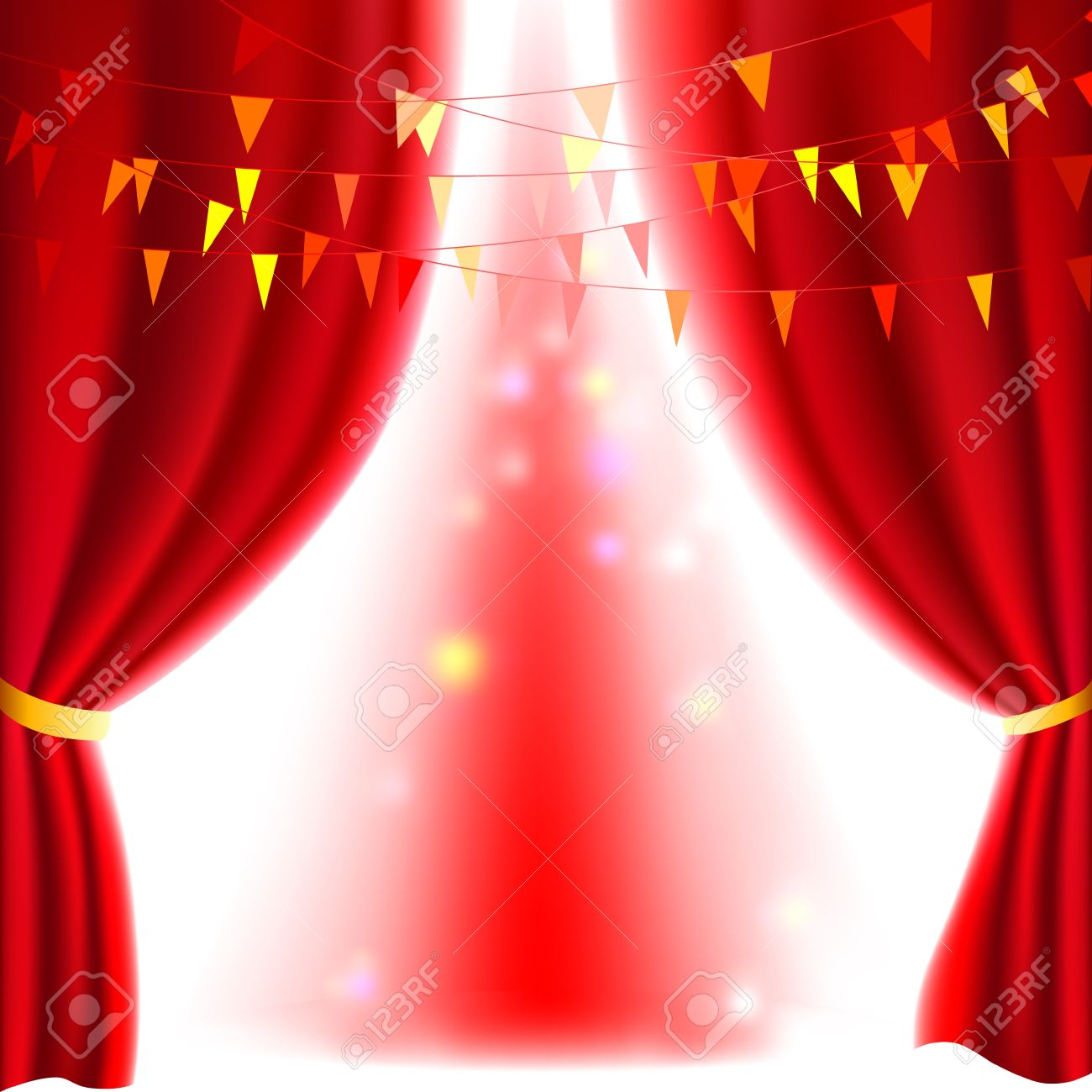 Stage curtains spotlight - Movie Or Theatre Curtain With A Bright Spotlight Stock Vector 14088182