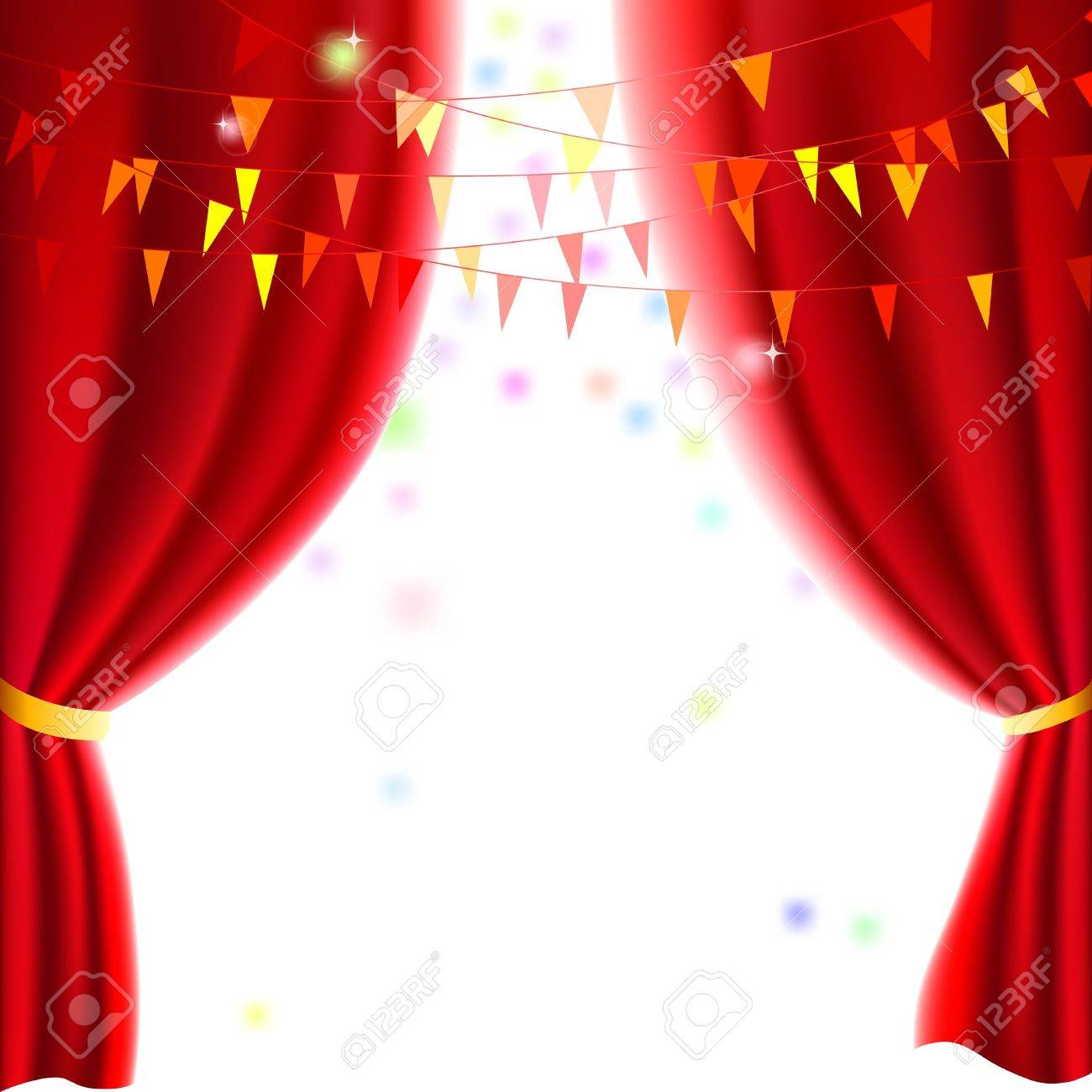 Theater curtains download free vector art stock graphics amp images - Movie Or Theatre Curtain With A Party Flags Stock Vector 14088187