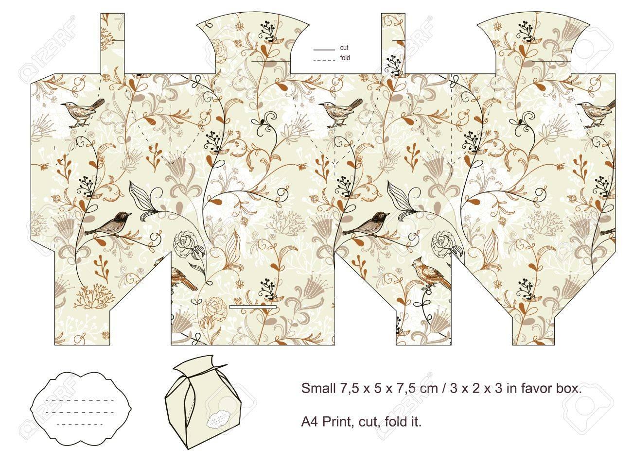 Favor box die cut  Birds, plants, flowers pattern  Empty label Stock Vector - 14574431