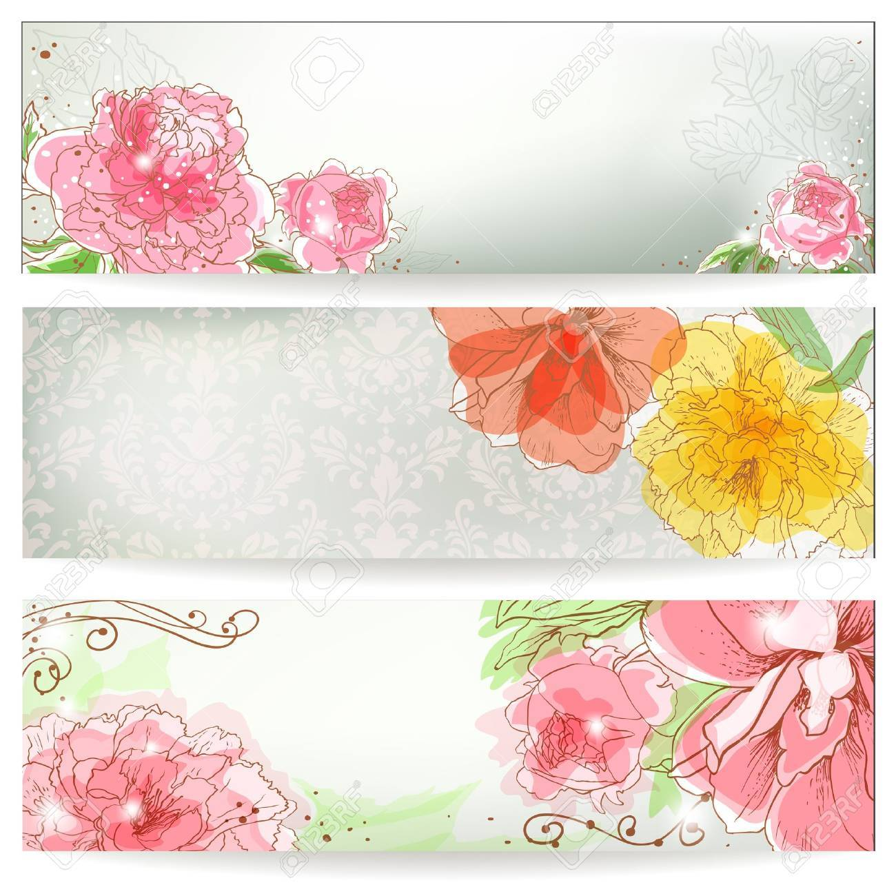 Three Banners With Peonies Hand Drawn Garden Background Royalty