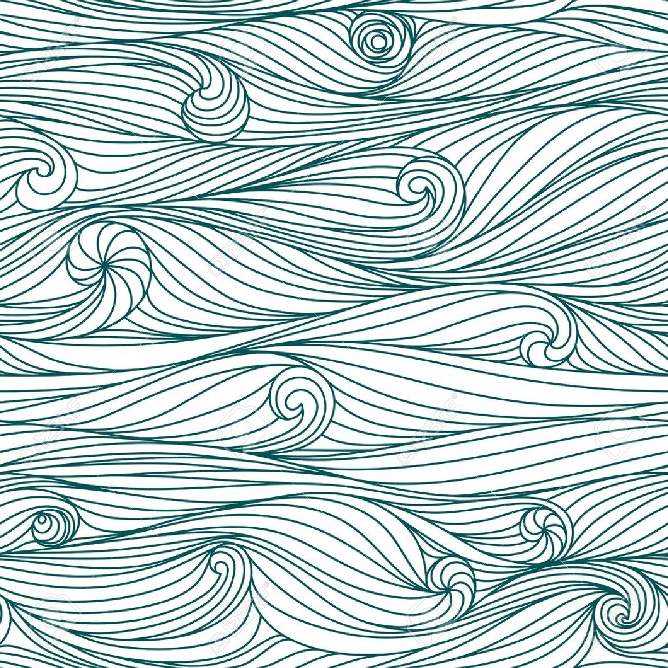 Abstract blue hand-drawn pattern, waves background. Seamless pattern can be used for wallpaper, pattern fills, web page background, surface textures. Stock Vector - 14719538