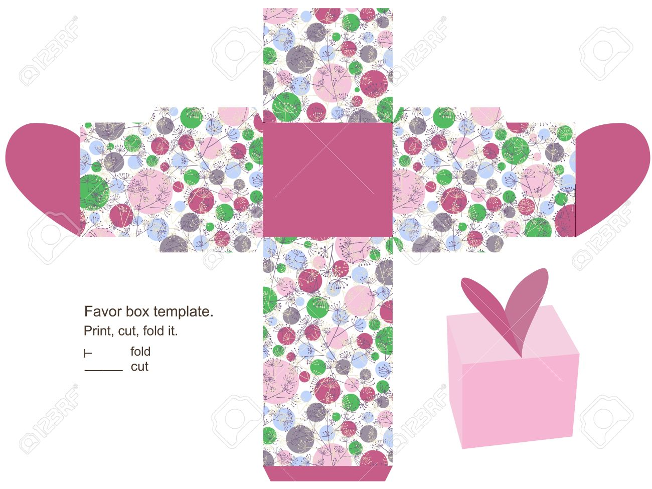 Favor Box Template Floral Pattern With Herbs And Circles Heart