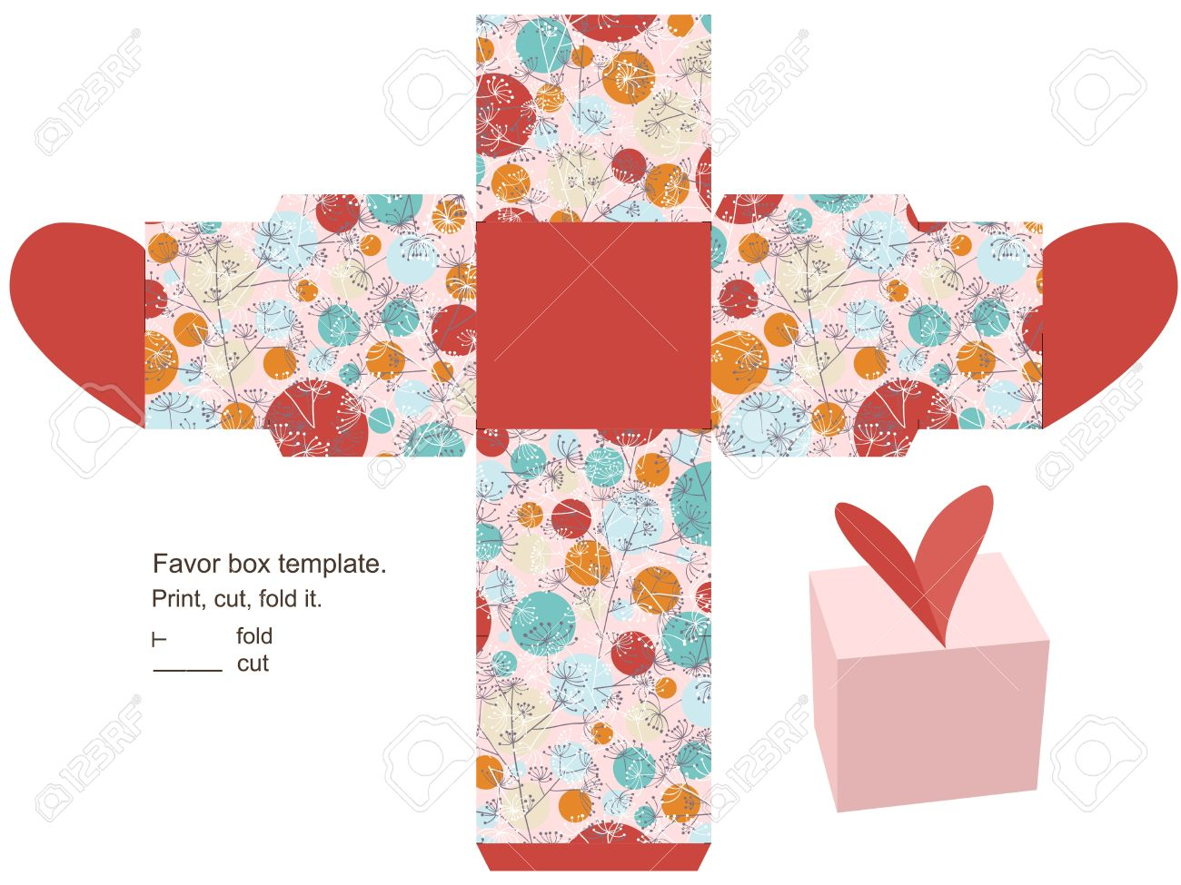 Favor box template. Floral pattern with herbs and circles. Heart  on the top. Stock Vector - 15031678