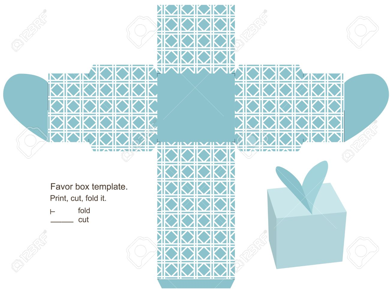 Favor Box Template. Geometric Classic Pattern. Heart On The ...
