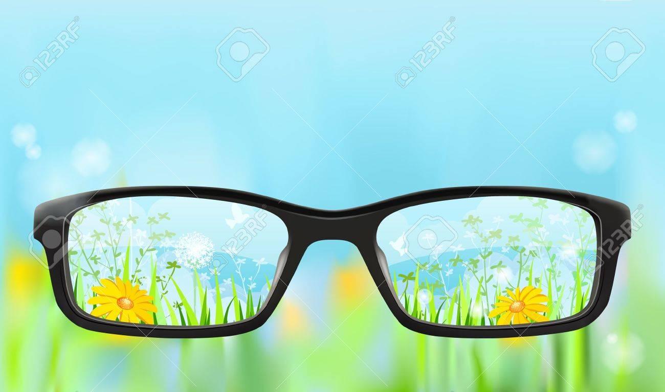 Eyeglasses on the blurred nature background with summer landscape in focus, illustration - 15138746