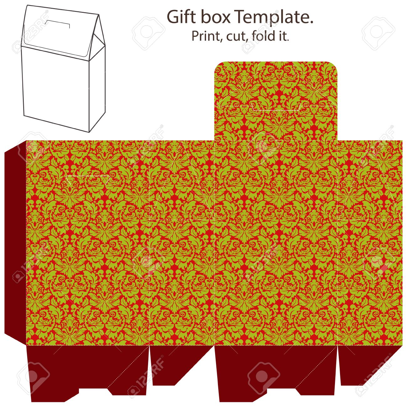 Christmas Gift Box Template. Abstract Classic Geometric Christmas ...