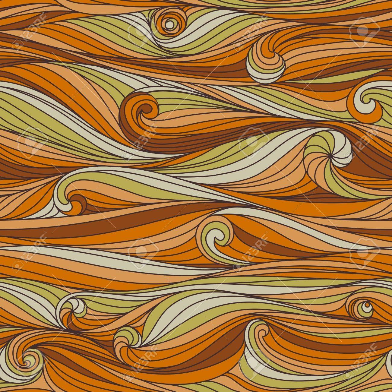 手描きシームレスな抽象的な波のパターン 壁紙 パターンの塗りつぶし