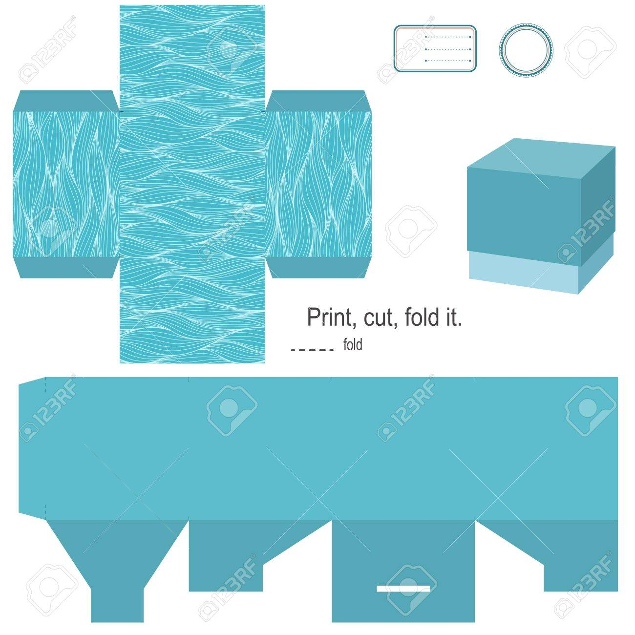 Gift Box Template Waves Pattern Empty Label Stock Vector   15703074  Gift Box Template Free
