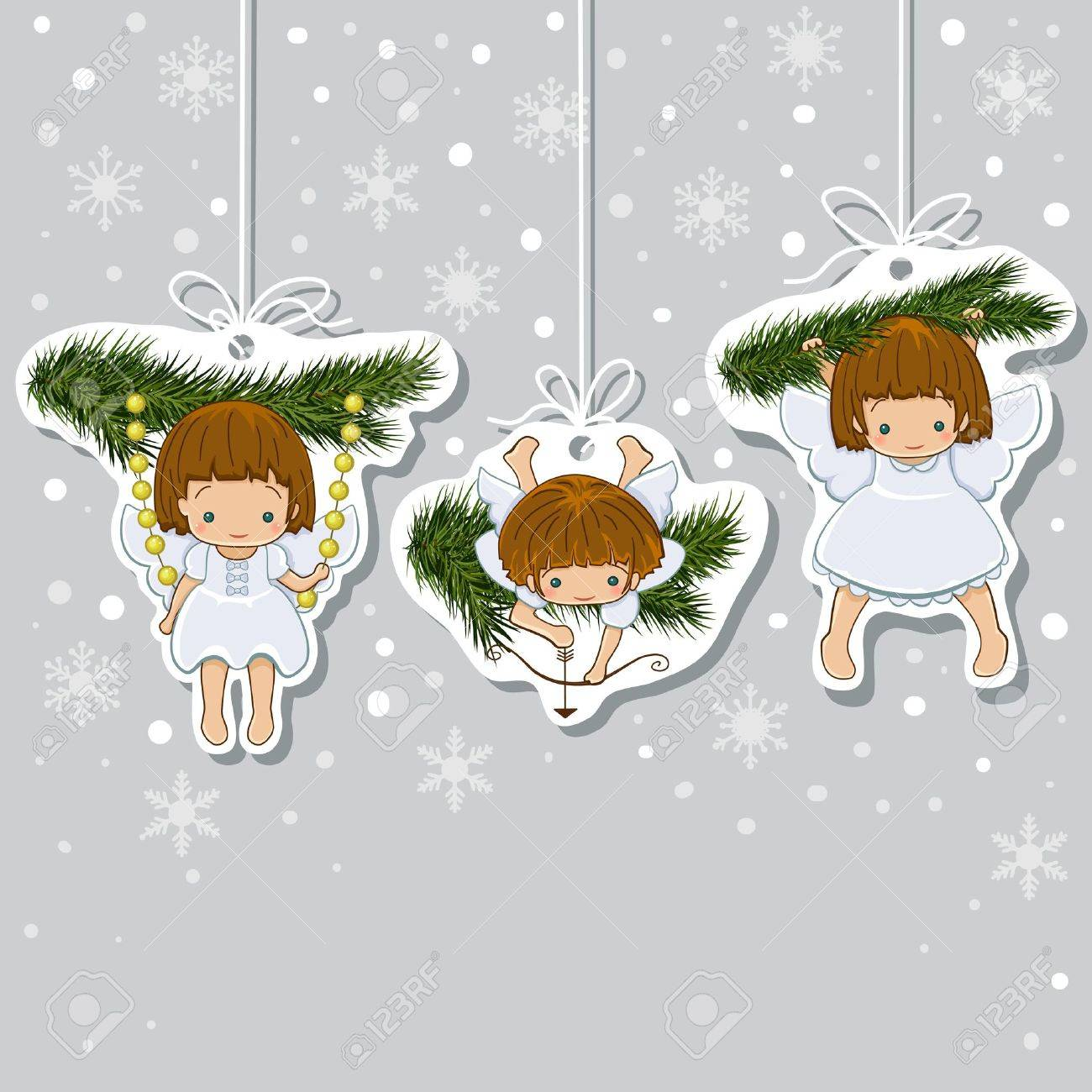 Christmas Card Set Of Little Angels Icons Royalty Free Cliparts ...