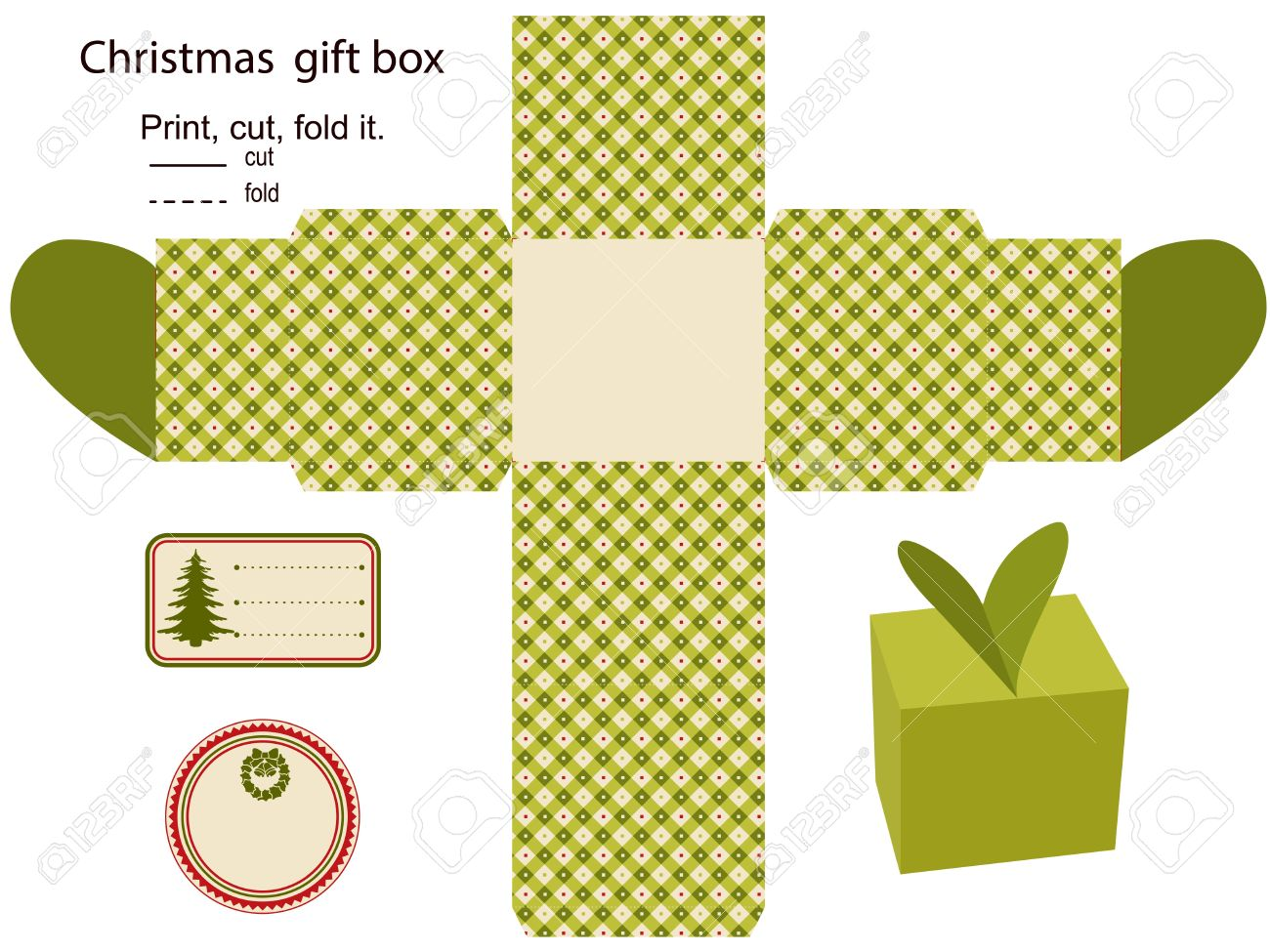 gift box isolated christmas pattern empty label template royalty gift box isolated christmas pattern empty label template stock vector 15762020