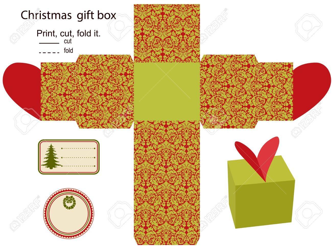 Caja De Regalo De Navidad Aislado Patrón Plantilla Etiqueta Vacía ...