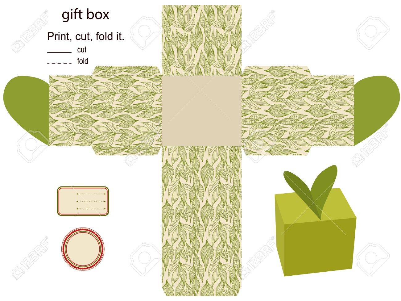 Gift box Isolated  Nature pattern  Empty label  Template Stock Vector - 15762036