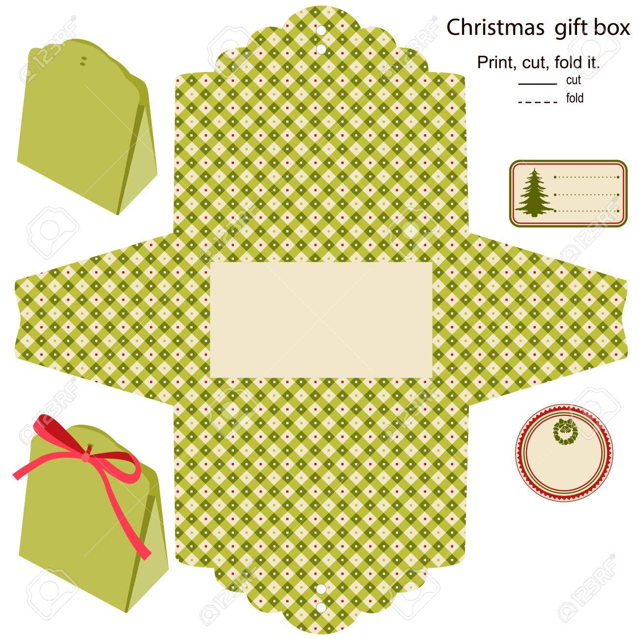 gift box isolated christmas pattern empty label template royalty gift box isolated christmas pattern empty label template stock vector 15762021