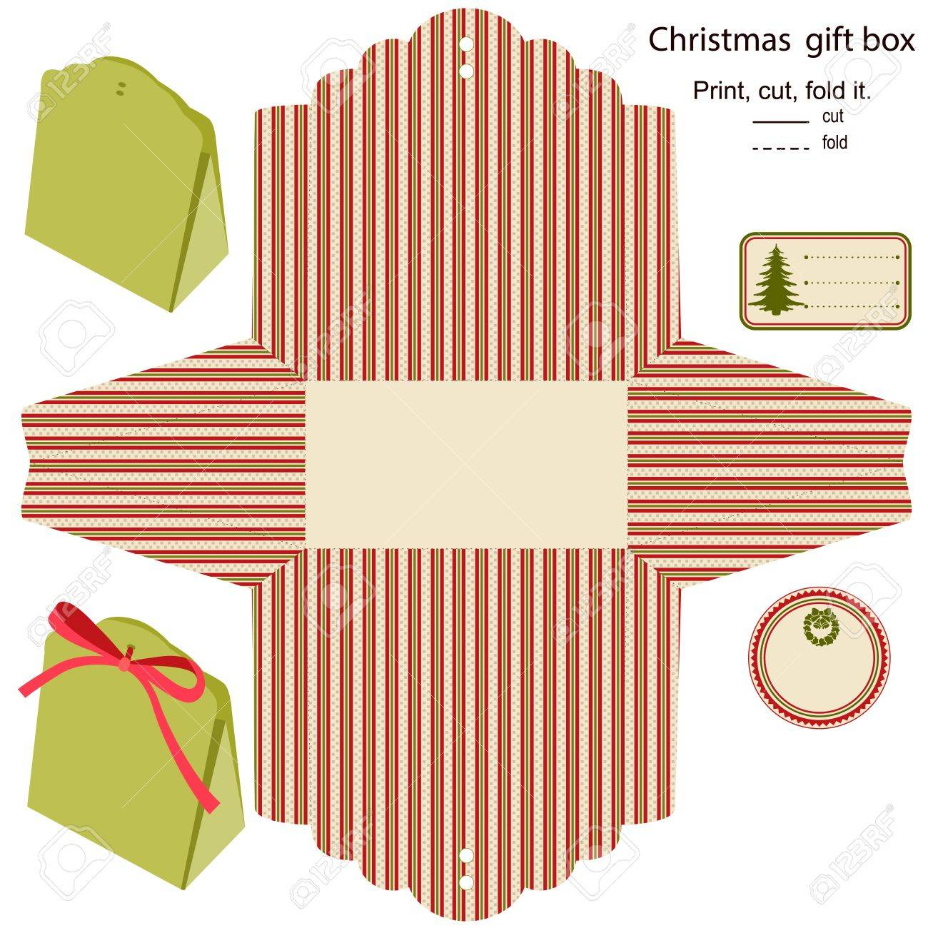 Gift box  Isolated  Christmas pattern  Empty label  Template Stock Vector - 15762022
