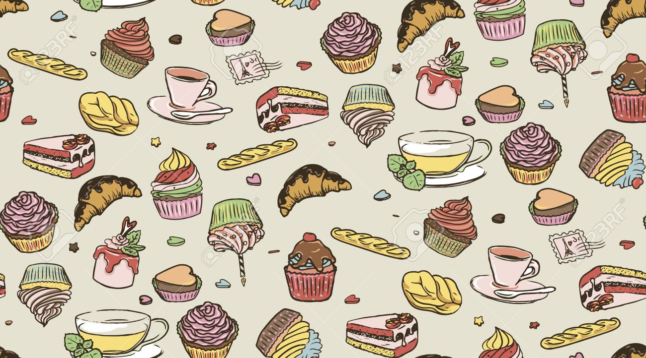 Illustration of delicious cupcakes, cup of coffee and cup of tea, seamless pattern. Candies background. Stock Vector - 17757233
