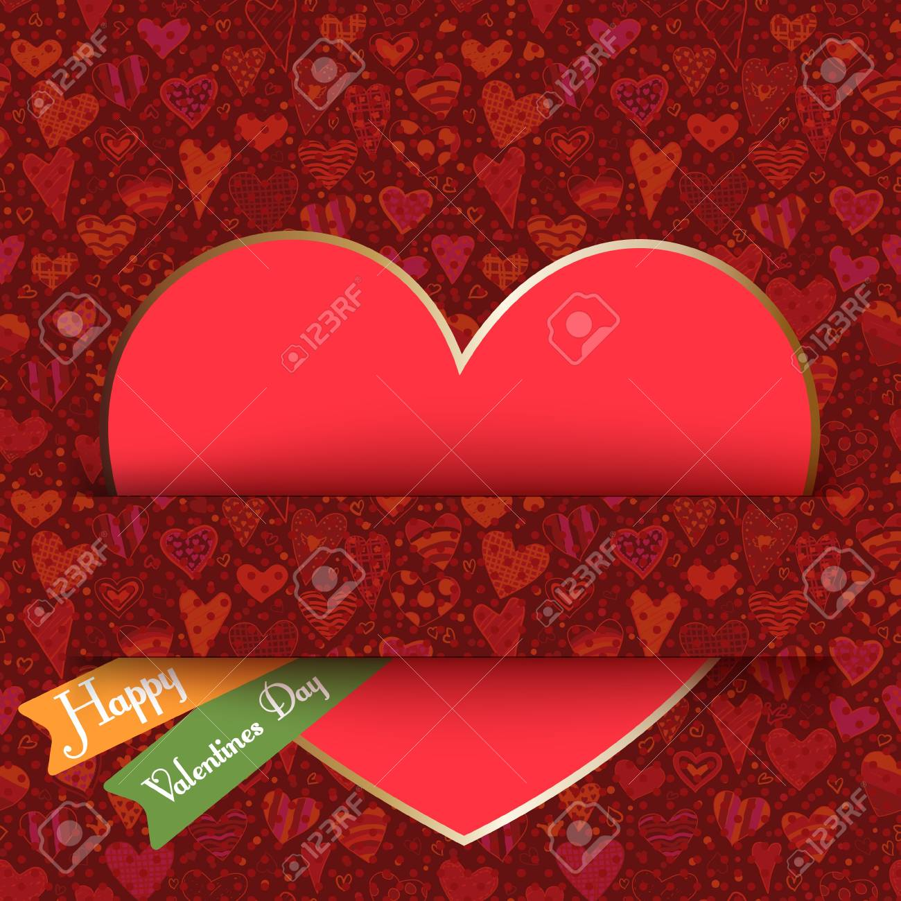 paper hearts at red background seamless pattern. Stock Vector - 17757245