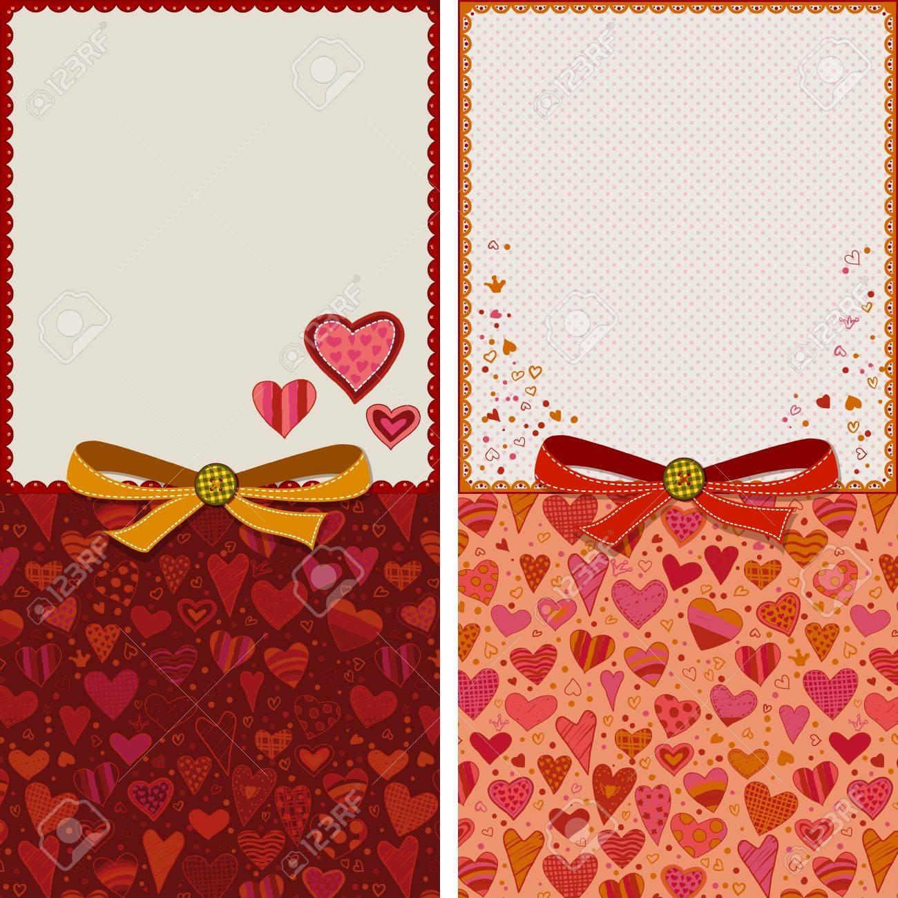 Wedding Valentines Relationship Birthday Anniversary Greeting Cards Templates Stock Vector