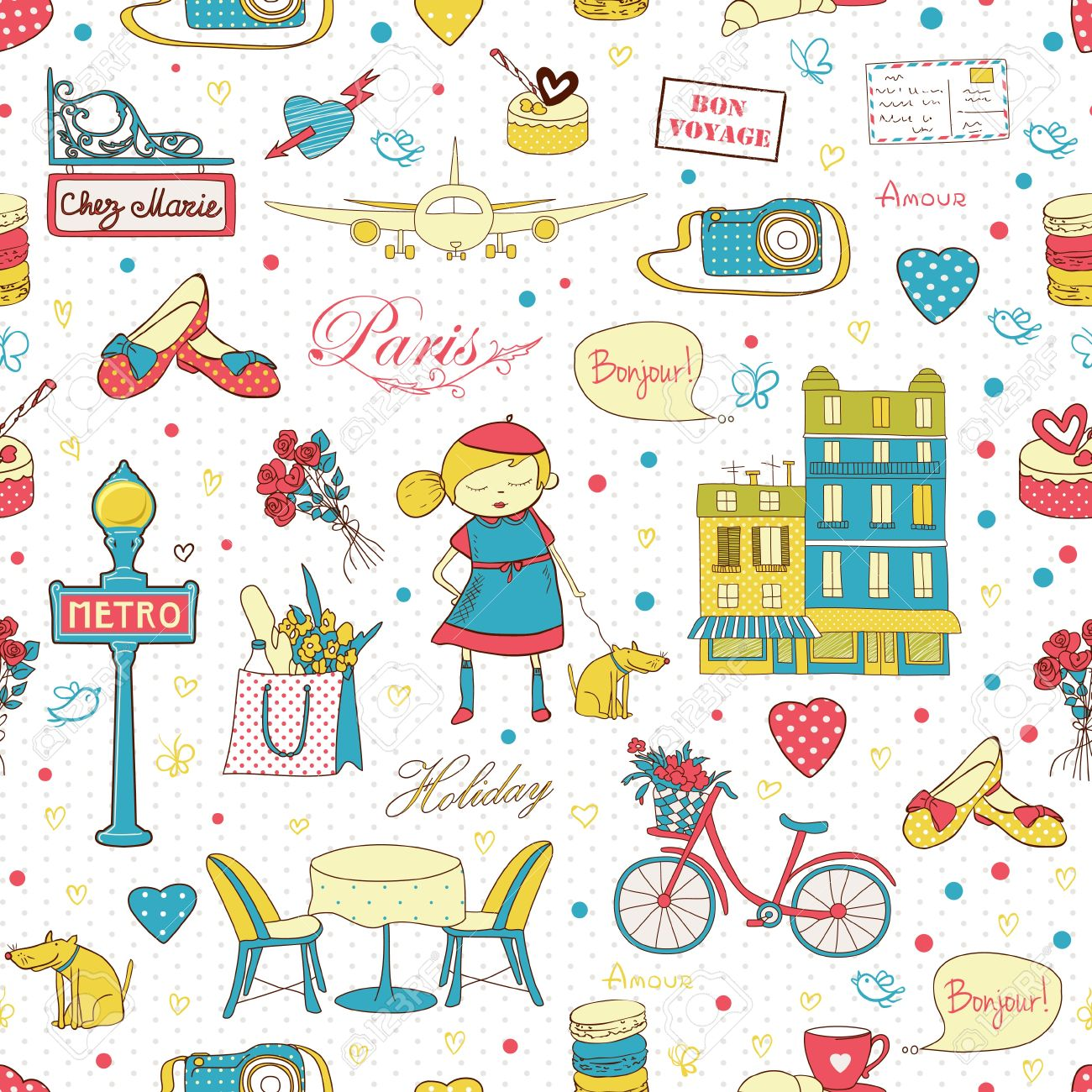 Paris travel seamless pattern, travel background  Endless pattern can be used for wallpaper, pattern fills, web page background, surface textures Stock Vector - 18149031