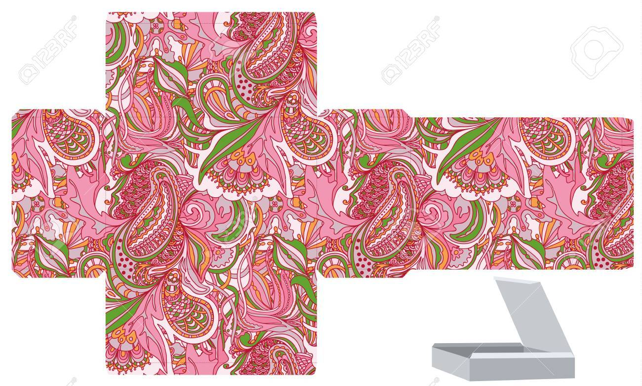 favor gift product box die cut floral abstract pattern empty
