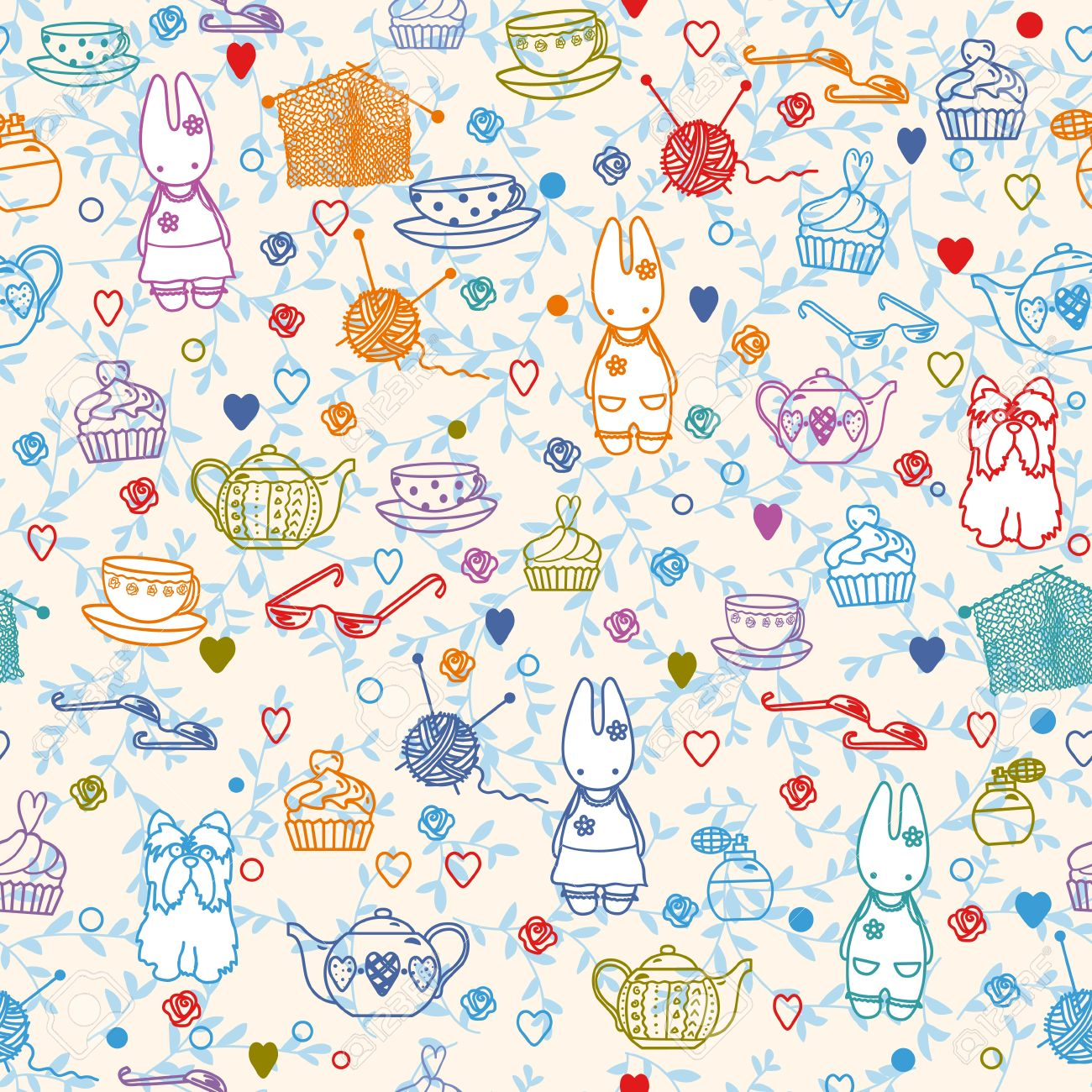 Pastime Things Baby Bunny Tea Pattern Can Be Used For Wallpaper