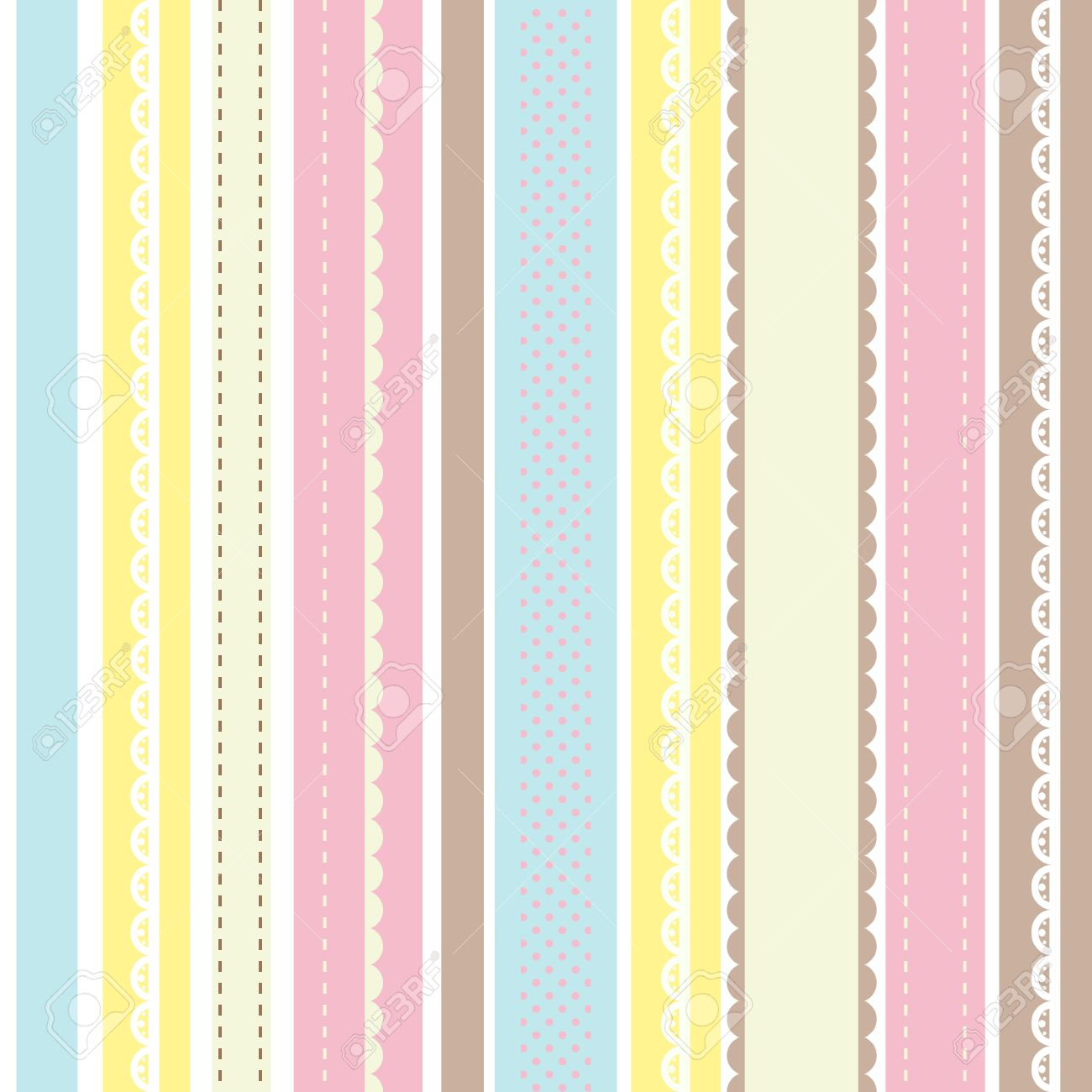 Shabby Chic Pattern Country Style Pastel Stripes Background Stock Vector