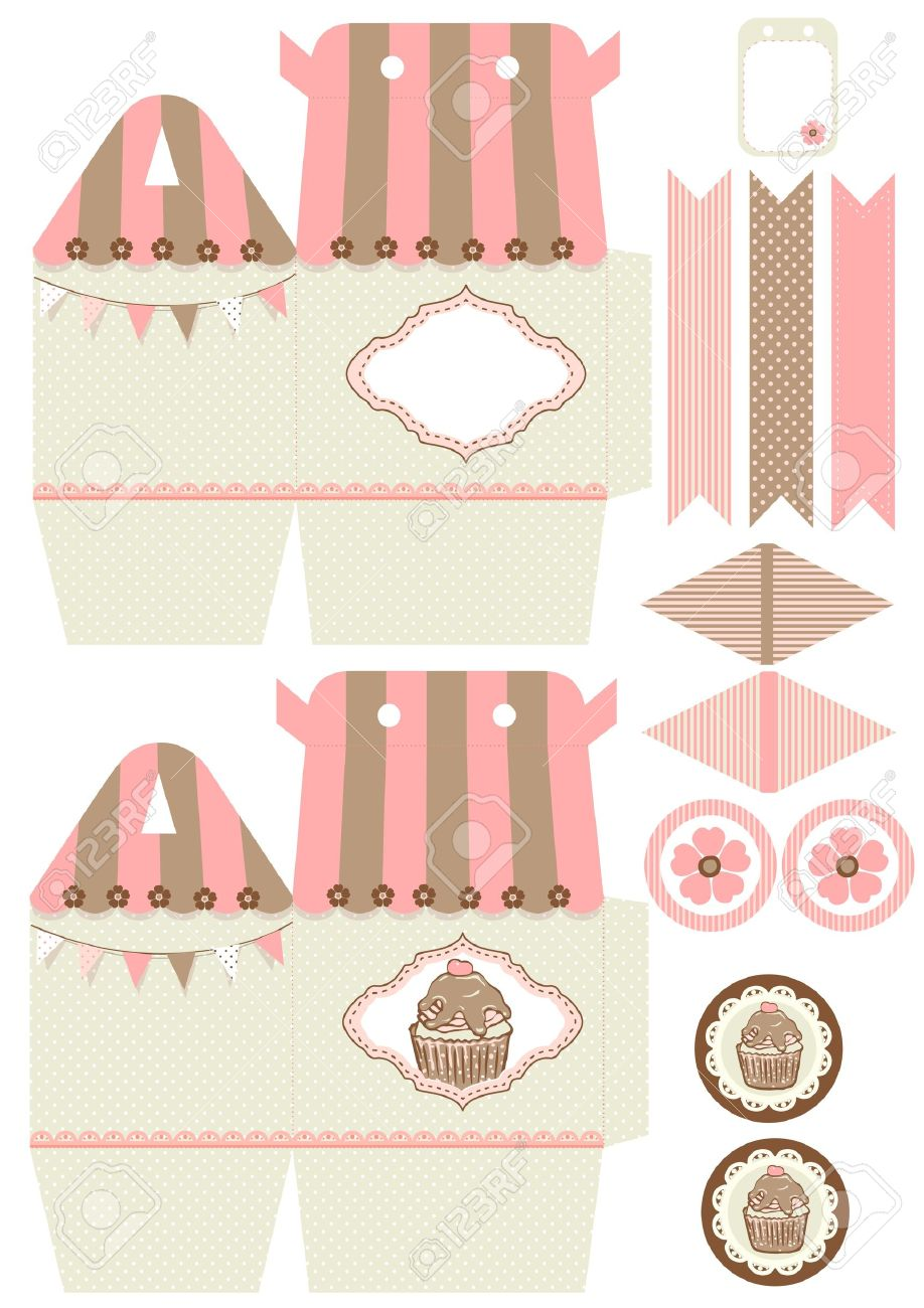 Cupcake box template stock vector. Illustration of package 37212585.