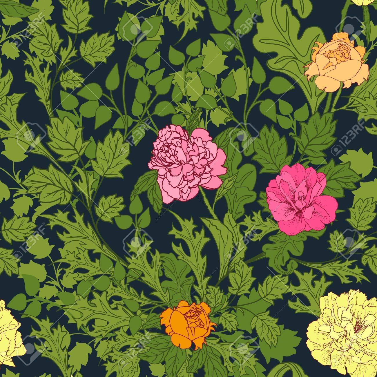 Papier Peint Motif Nature motif nature abstraite avec des fleurs. motif sans fin peut être utilisé  pour le papier peint, des motifs de remplissage, fond de page web textures  de