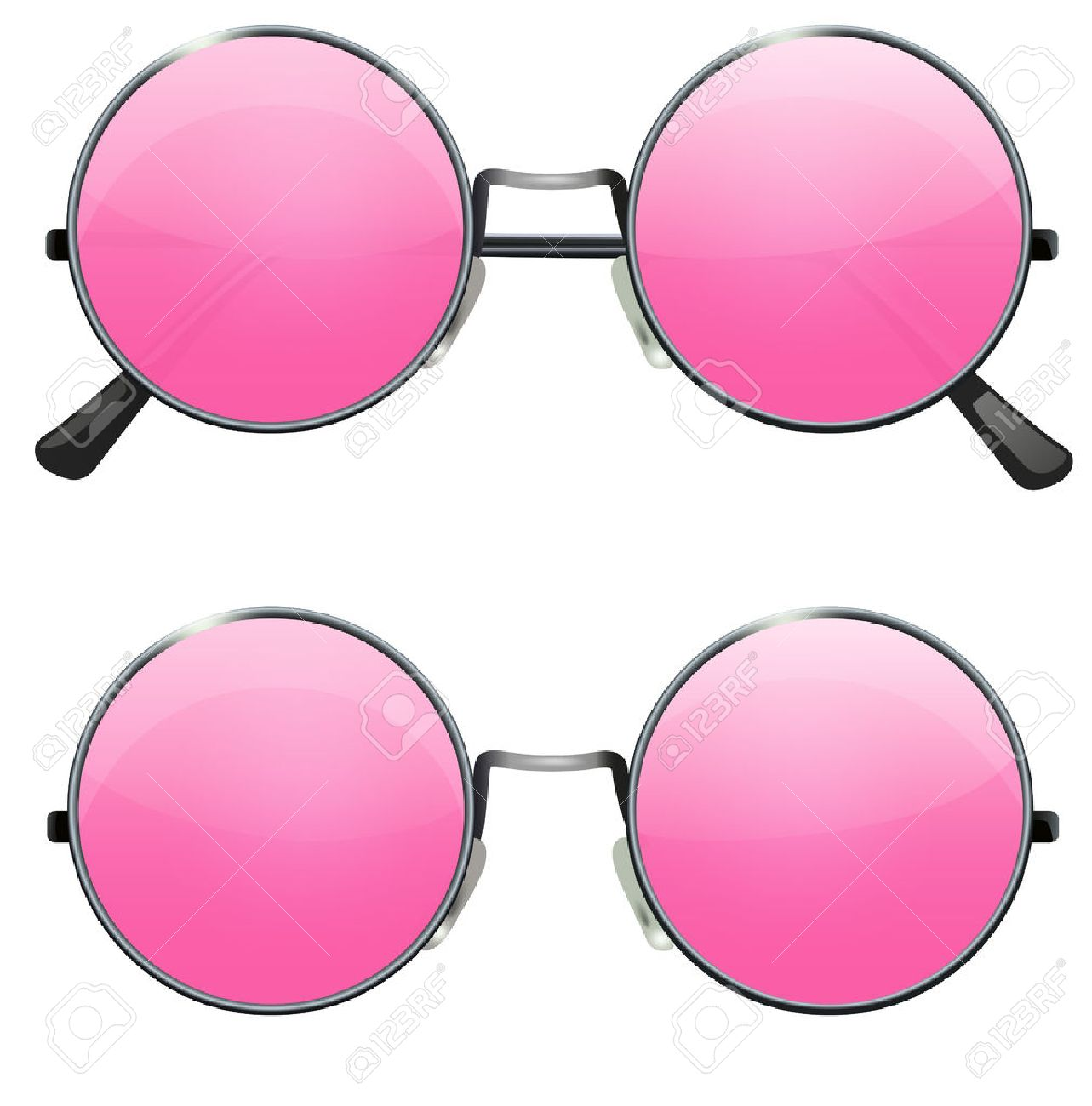glasses with transparent pink round lenses isolated on white rh 123rf com