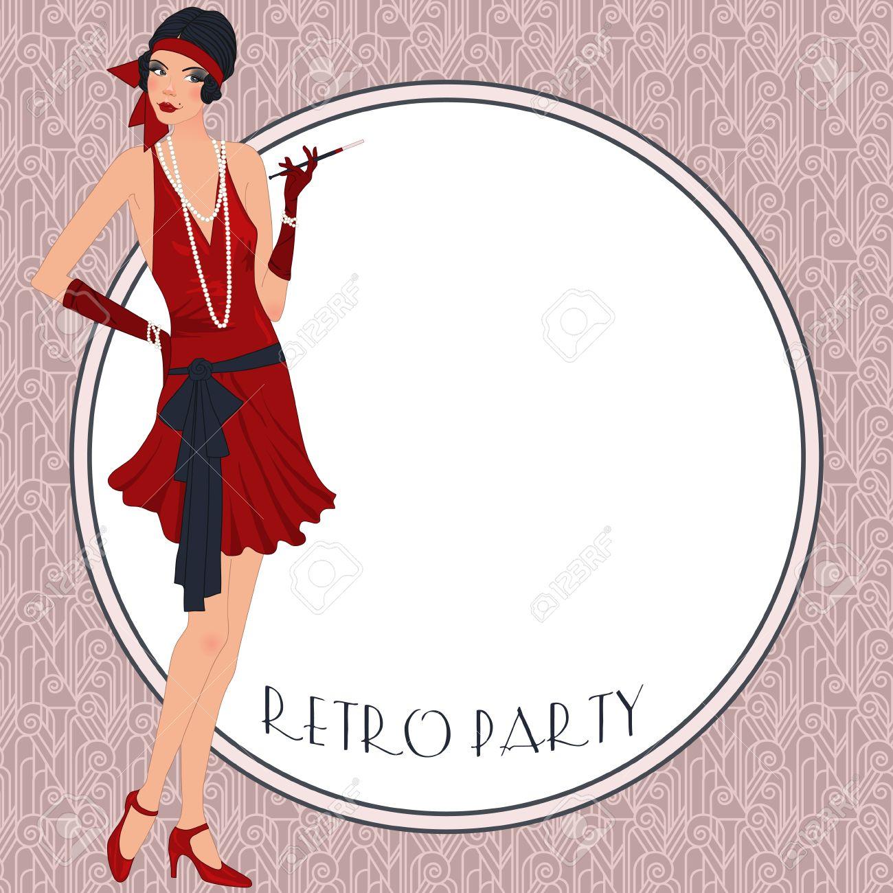 retro background with flapper girl retro party invitation design