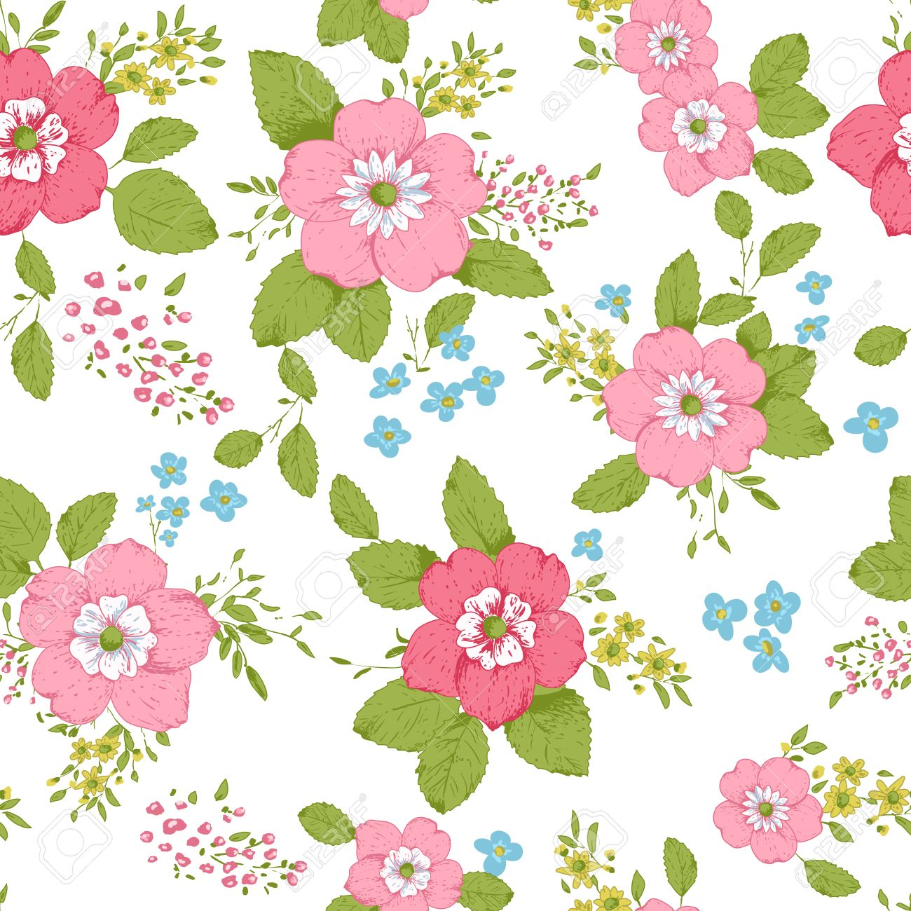 Shabby Chic Rose Pattern Background With Copyspace Frame Template Stock Vector