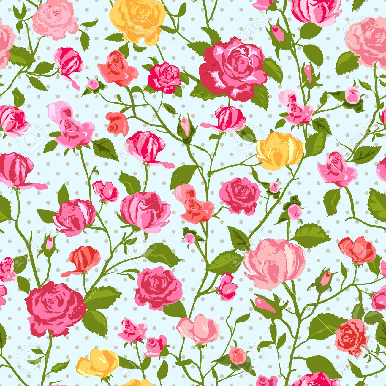 Astonishing Shabby Chic Rose Pattern And Seamless Background Ideal For Printing Interior Design Ideas Lukepblogthenellocom