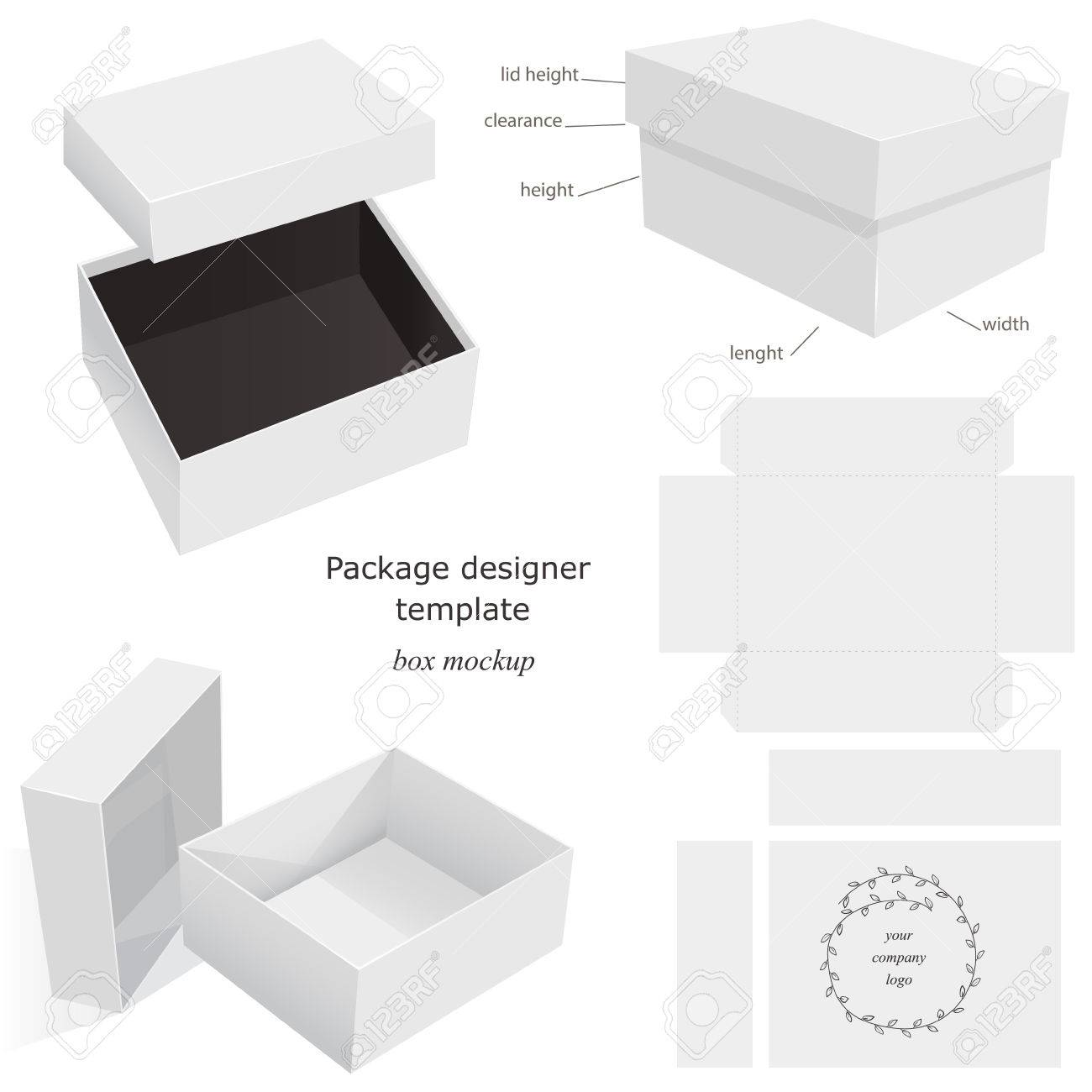 white package mockup box opened closed template front and