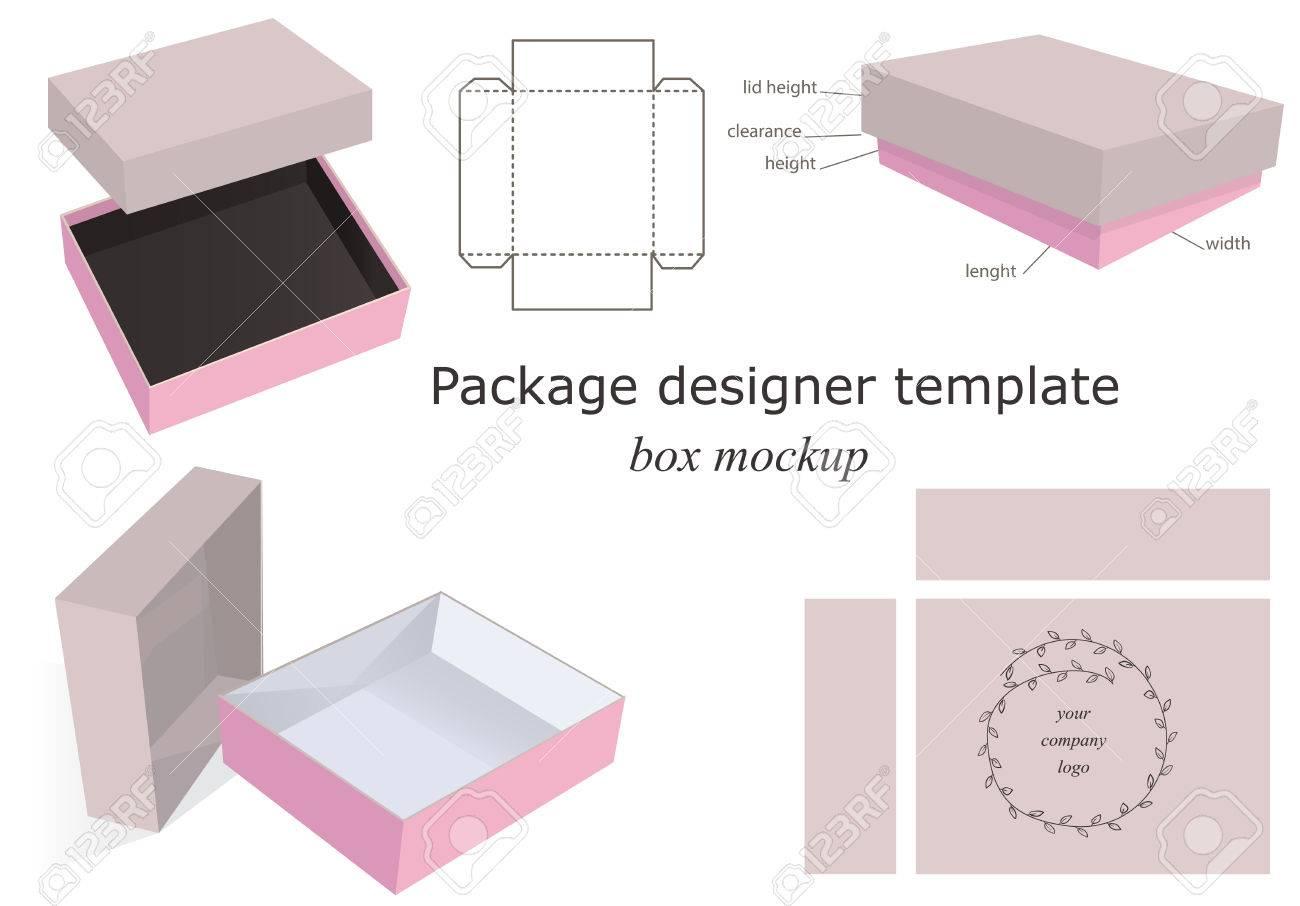 Cartón Y Rosa Maqueta Caja Del Paquete Abrieron Delante Plantilla ...