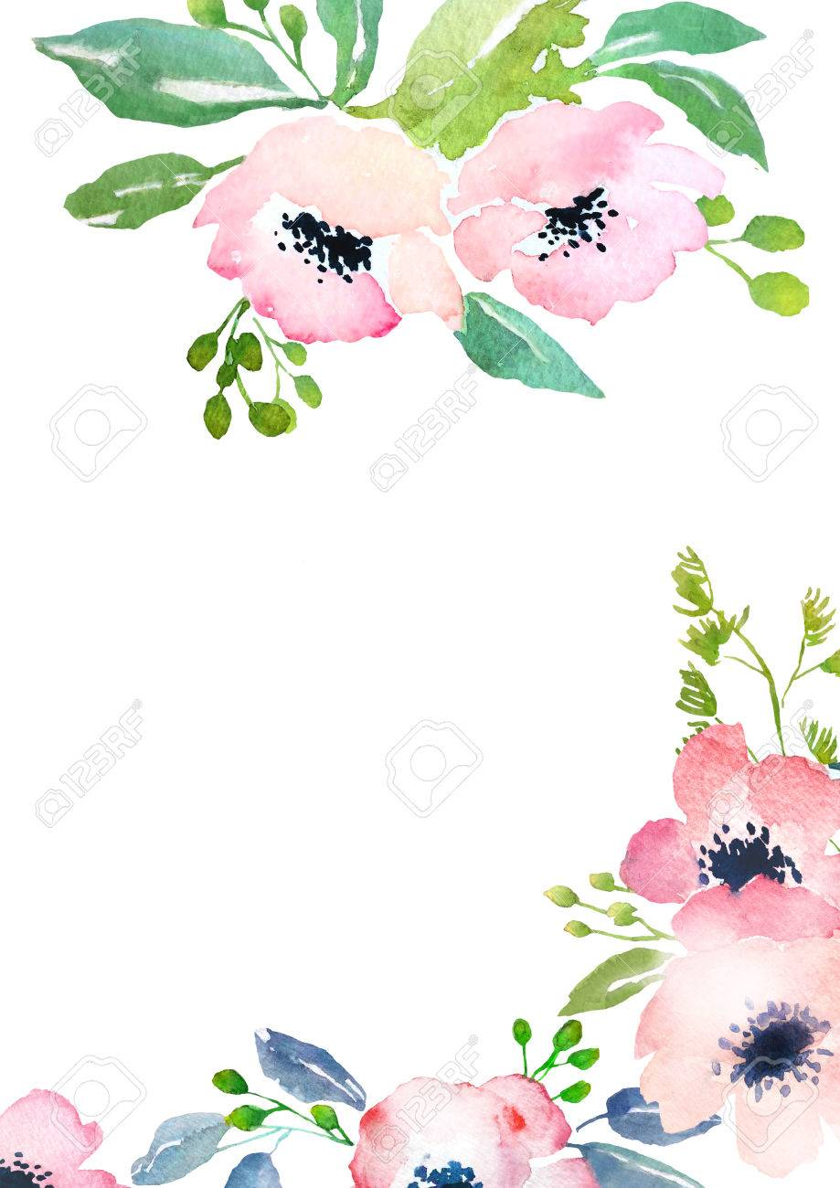 card template with watercolor roses blank space for your text
