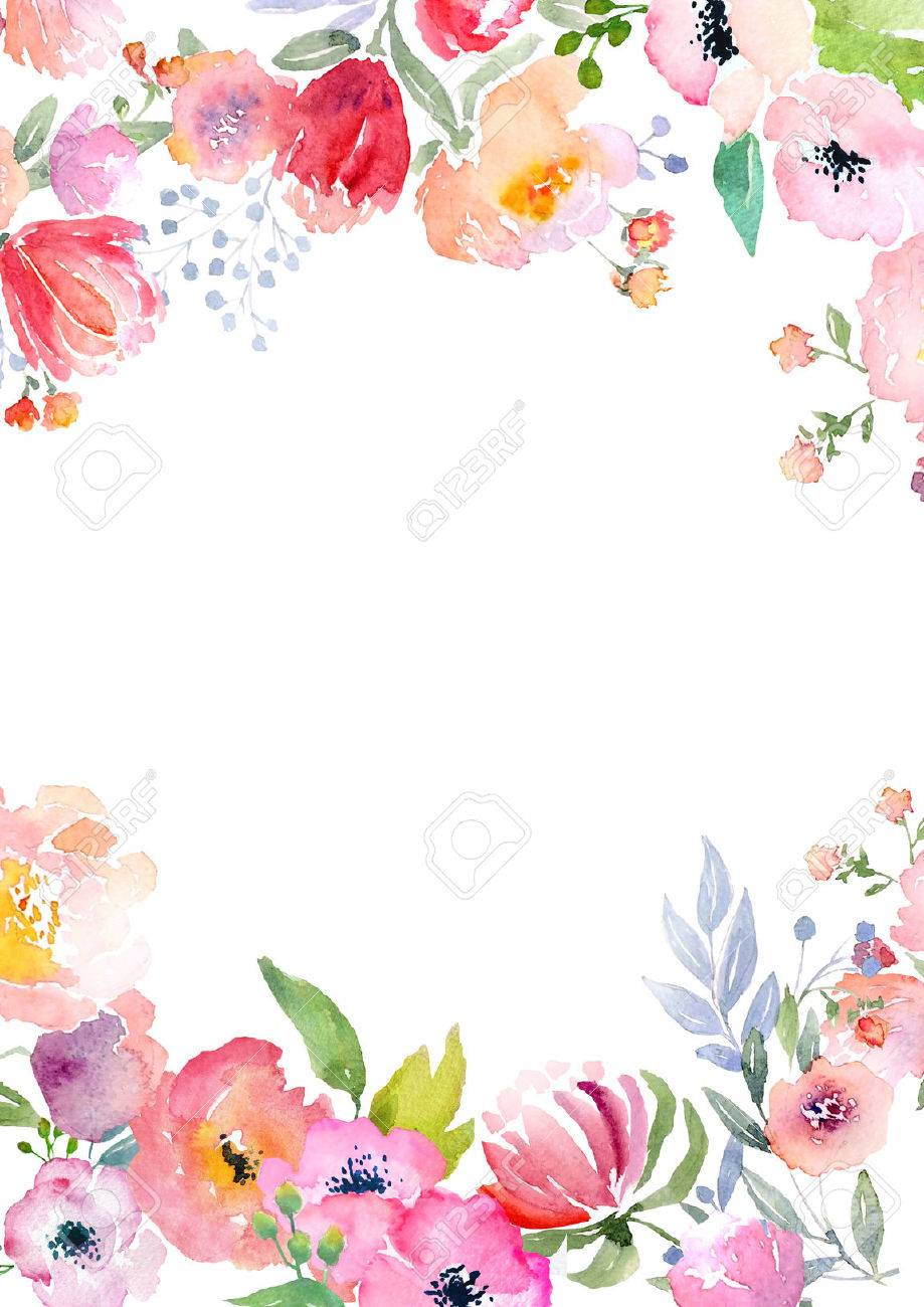 Card Template With Watercolor Roses. Illustration For Greeting ...
