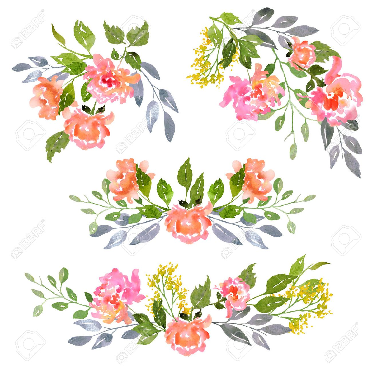 floral clip art with watercolor peonies illustration for greeting
