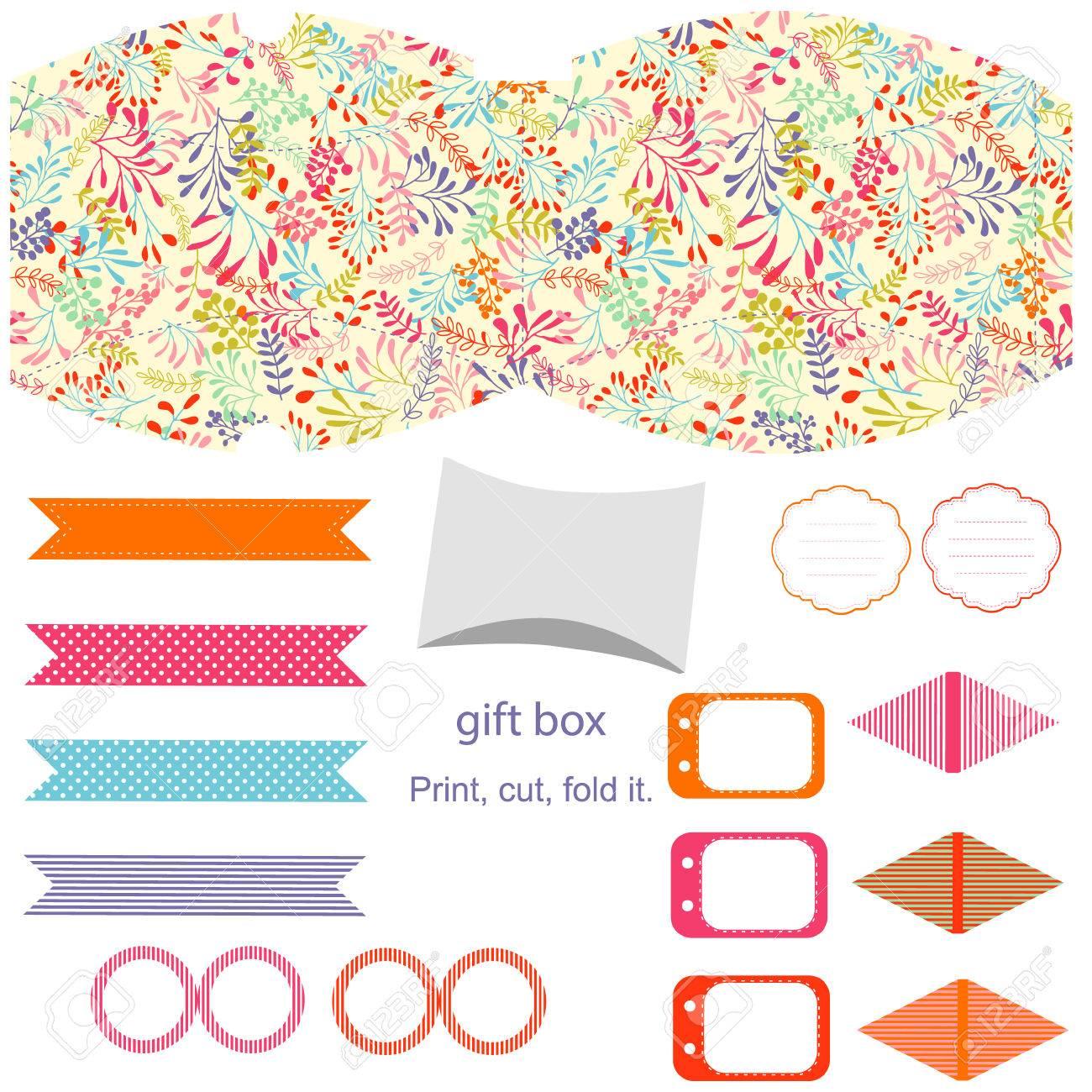 Party. Geschenk-Box-Vorlage. Abstrakt Natur Muster, Kräuter Und ...