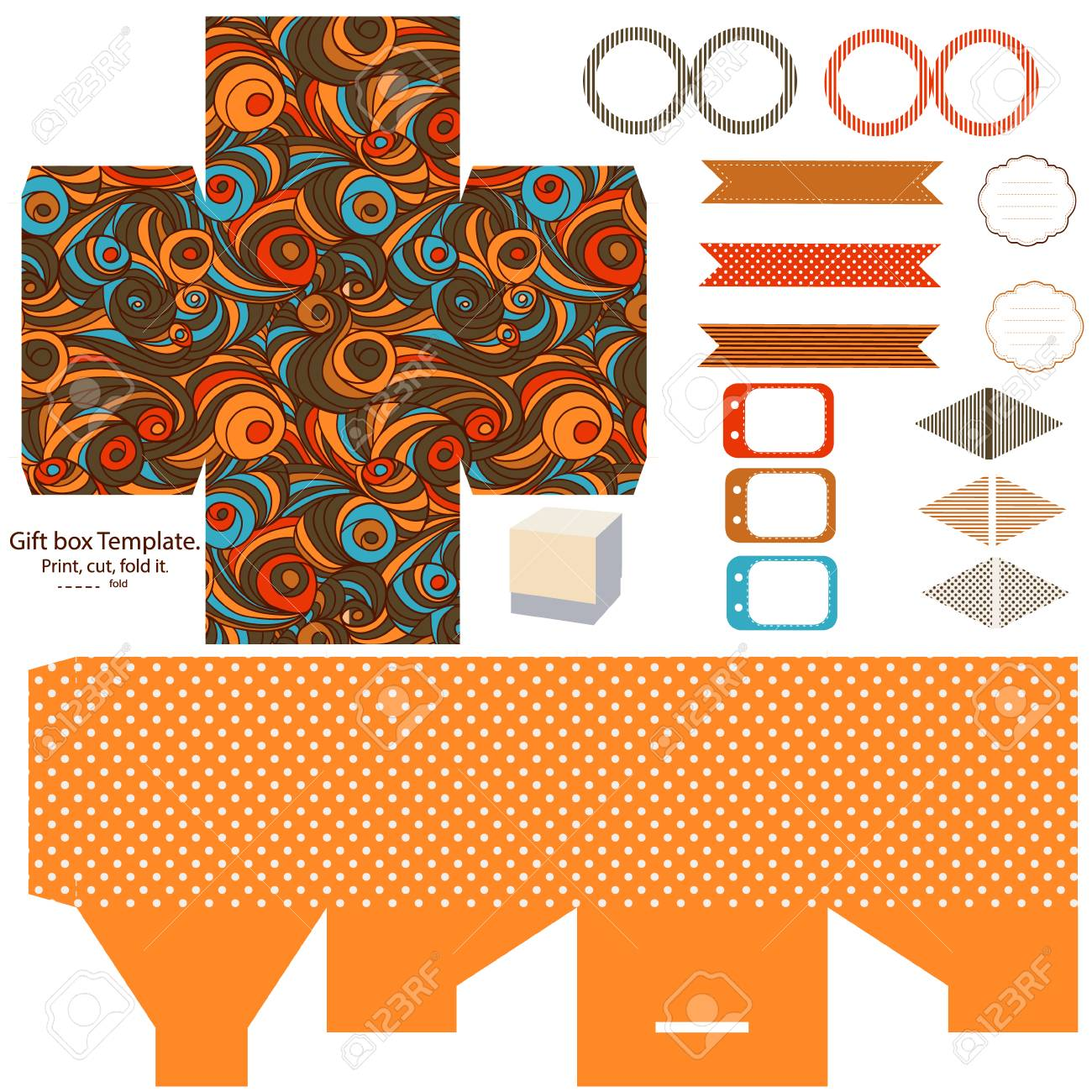 party set gift box template abstract swirl waves pattern empty labels and cupcake