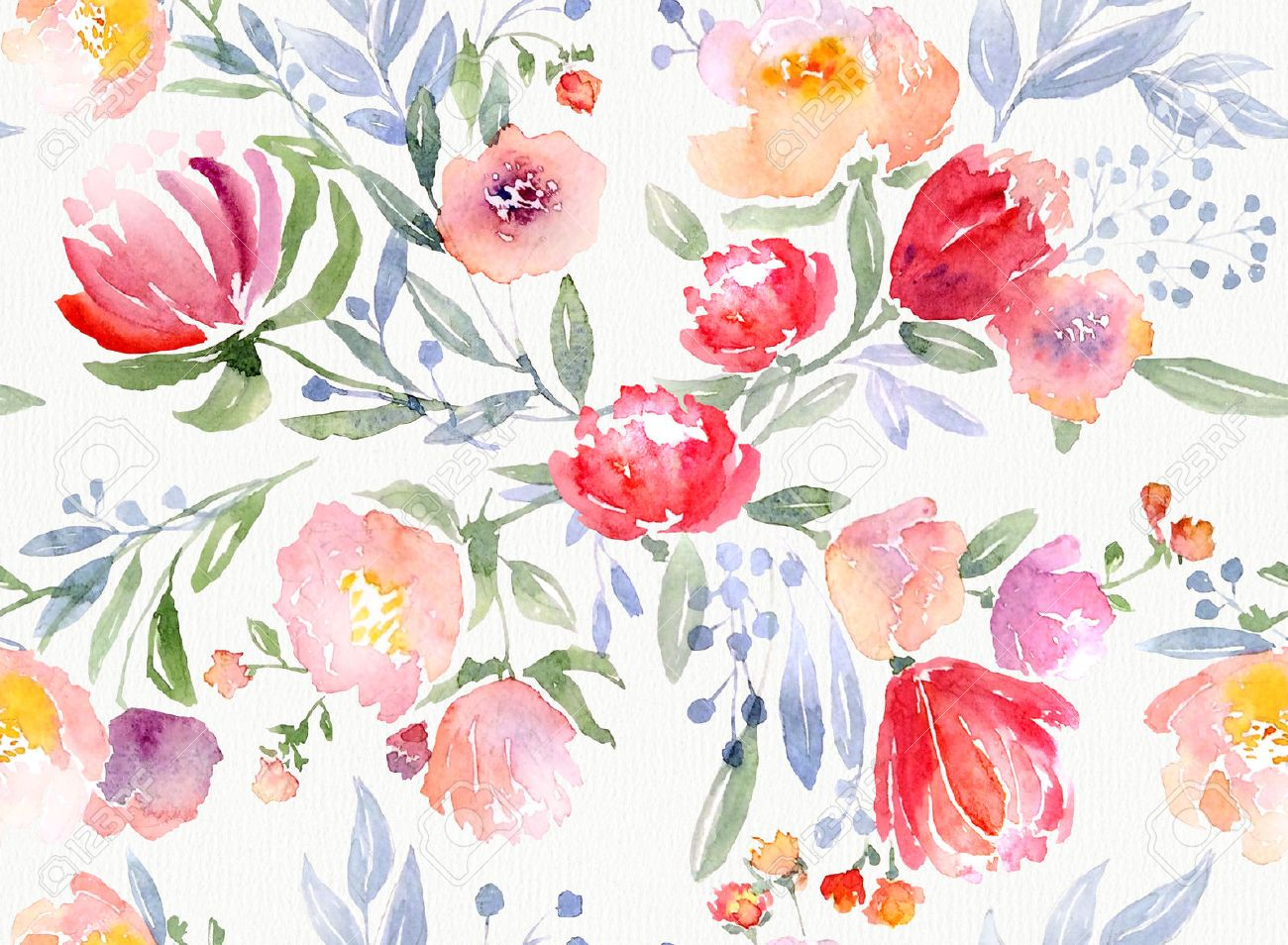 Illustration Watercolor Floral Botanical Pattern And Seamless Background Ideal For Printing Onto Fabric And Paper Or Scrap Booking Hand Painted
