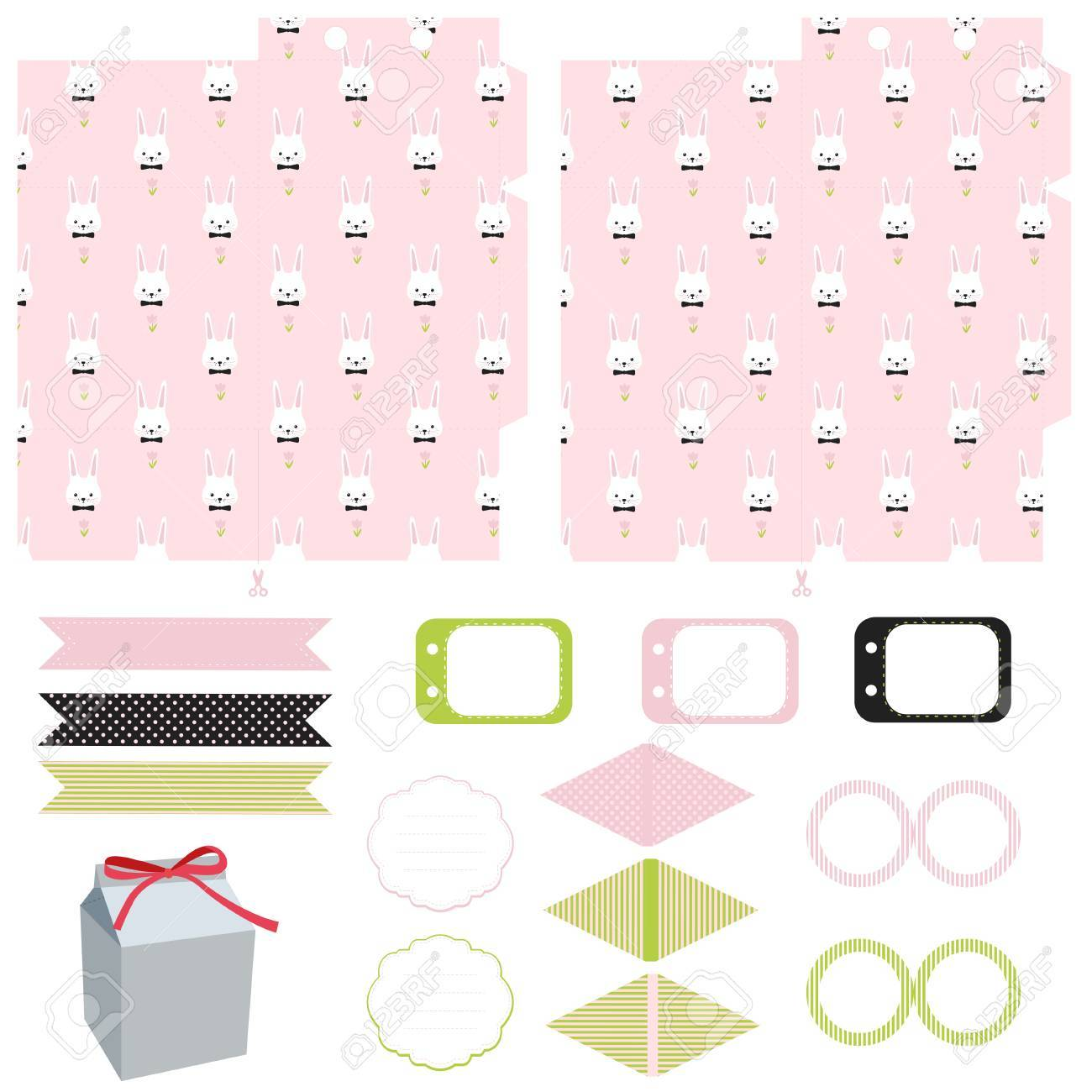 Party set gift box template empty labels and cupcake toppers easter bunny pattern party set gift box template empty labels and cupcake toppers and food tags maxwellsz