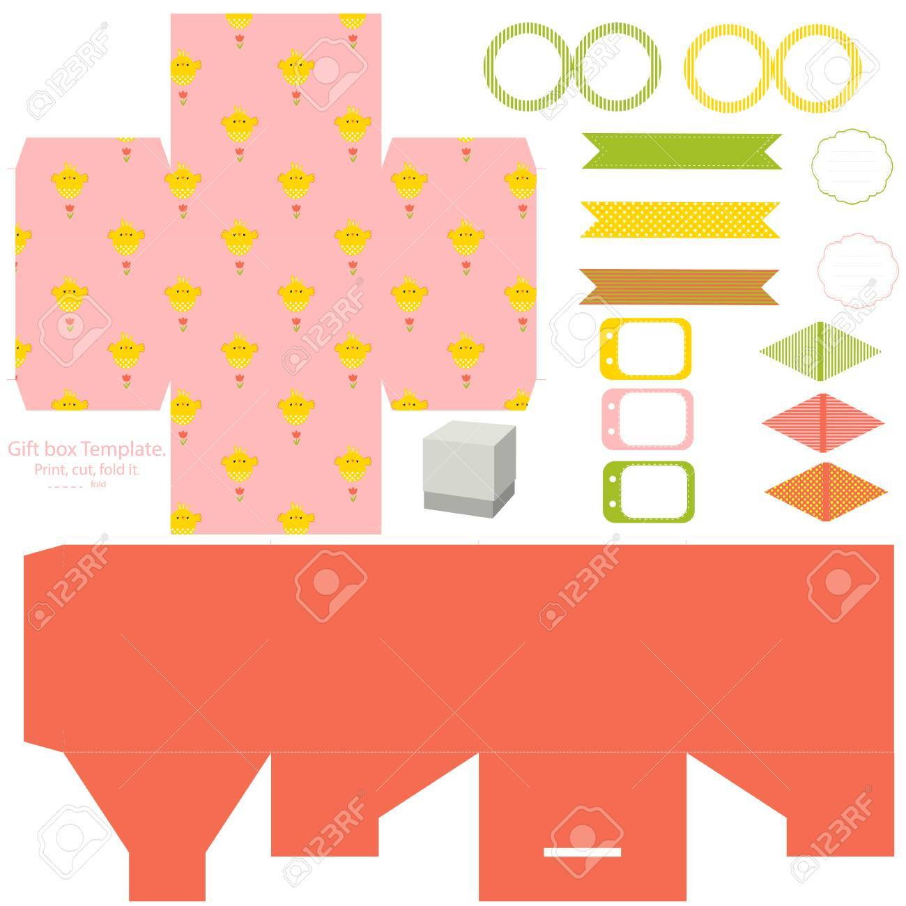 Easter party set gift box template empty labels and cupcake easter party set gift box template empty labels and cupcake toppers and food tags negle Images