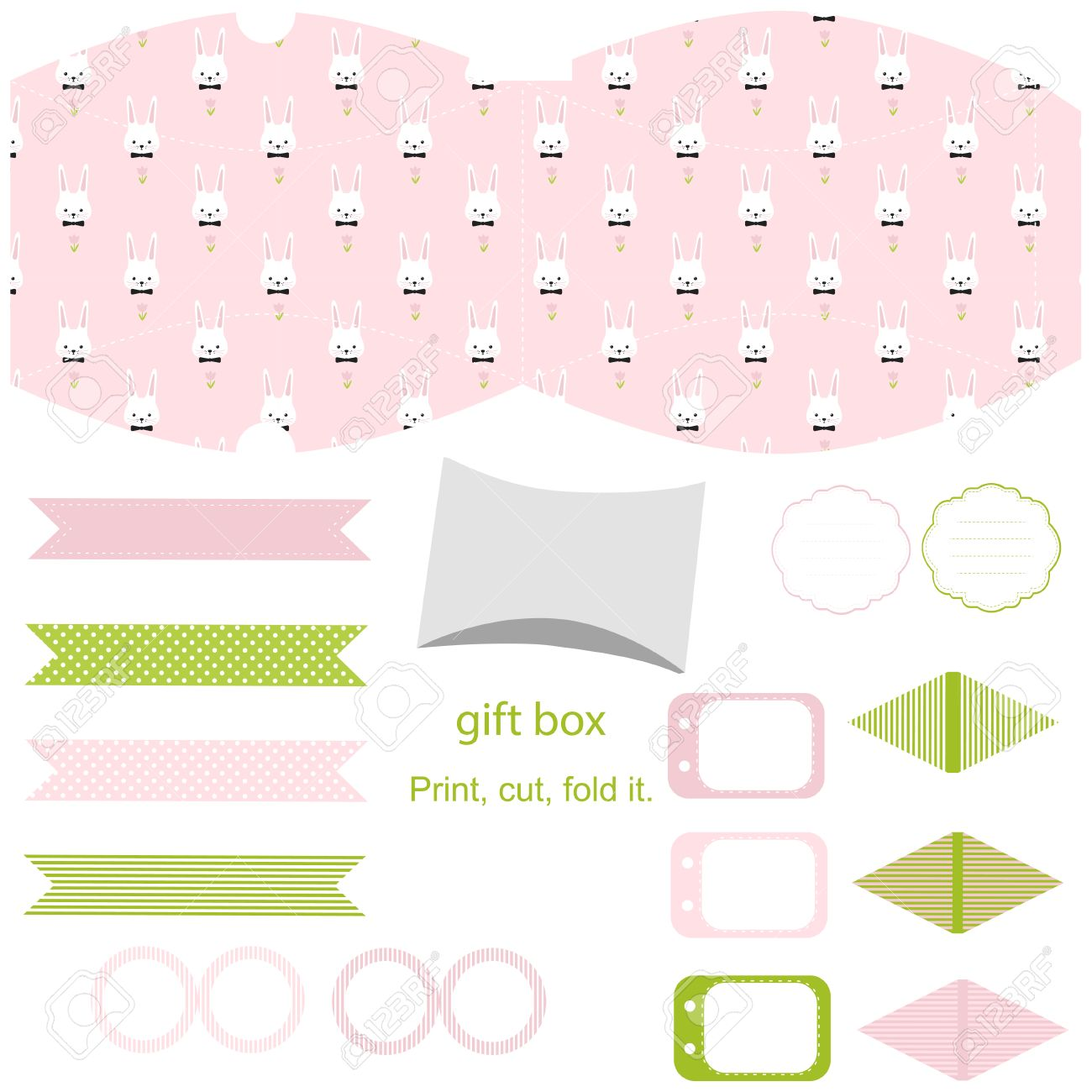 Party set gift box template empty labels and cupcake toppers easter bunny pattern party set gift box template empty labels and cupcake toppers and food tags negle Image collections