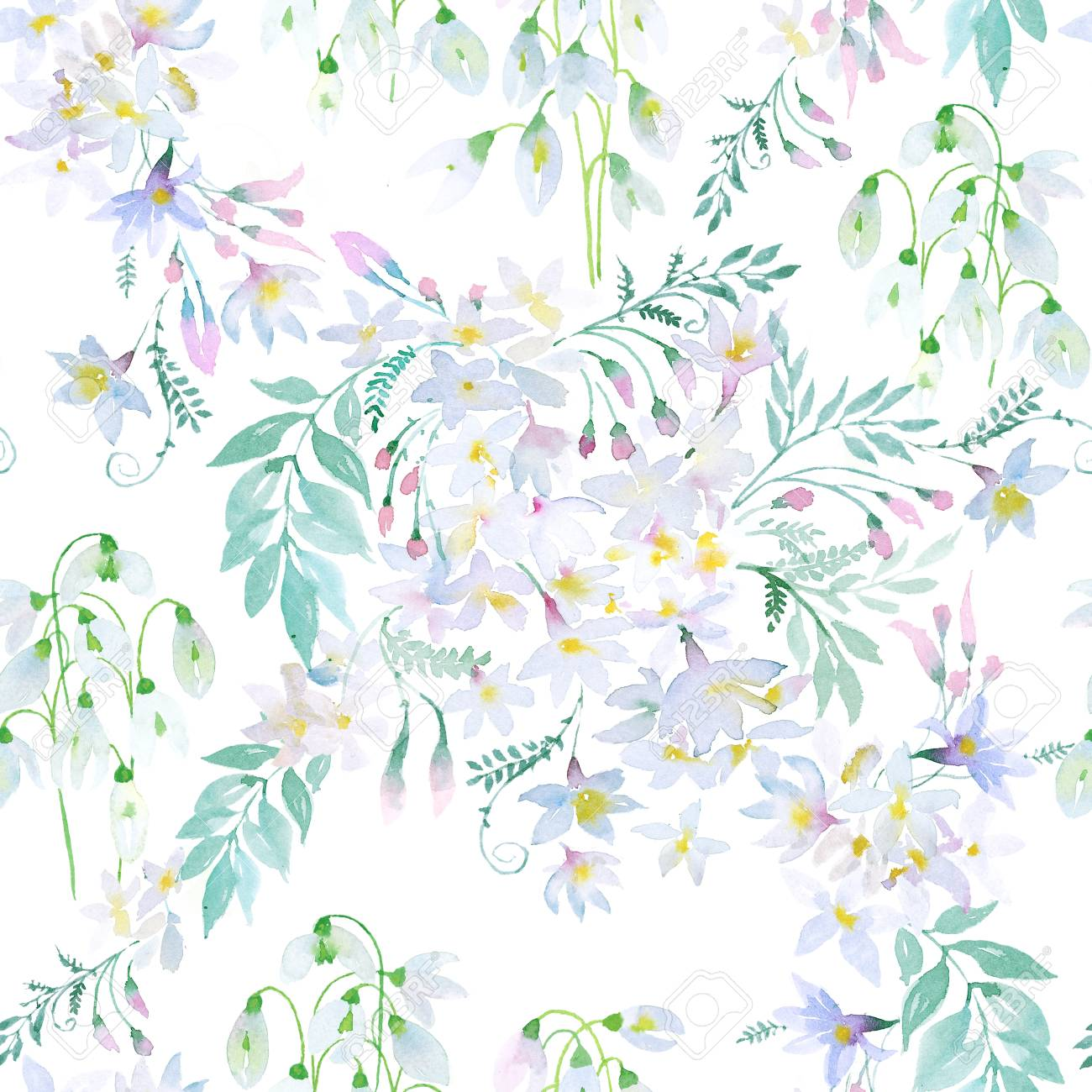 Watercolor Spring Flowers Botanical Pattern And Seamless Background