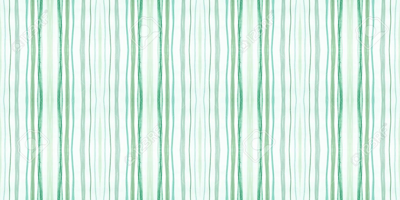 Seamless Fashion Stripes. Retro Lines Background. Geometric Grunge Pattern. Green and White Graphic Stripes. Vintage Handmade Repeat. Water Stroke Background. Abstract Stripes. Lines Wallpaper. - 154786226