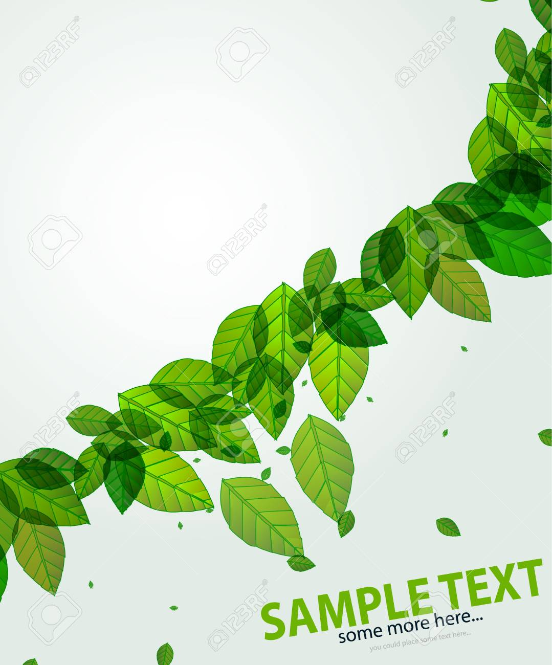 shiny green background with leaves and flares Stock Vector - 14133278