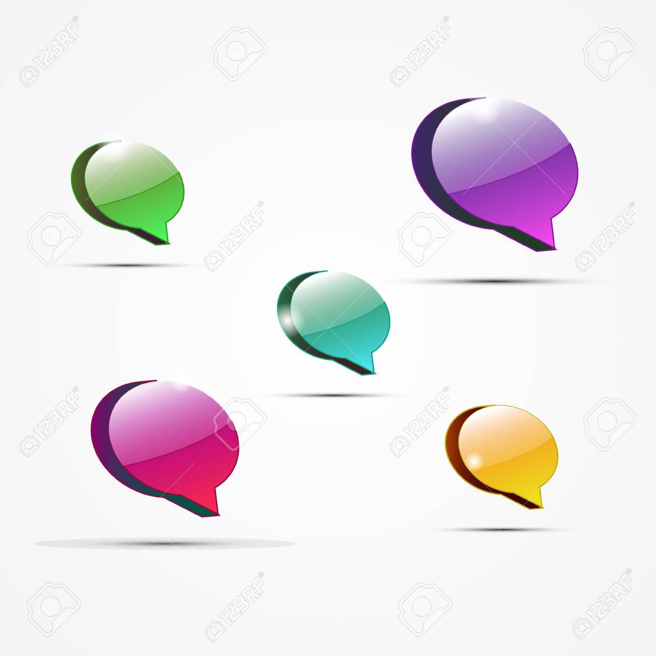 Vector glossy color speech bubbles Stock Vector - 14930184