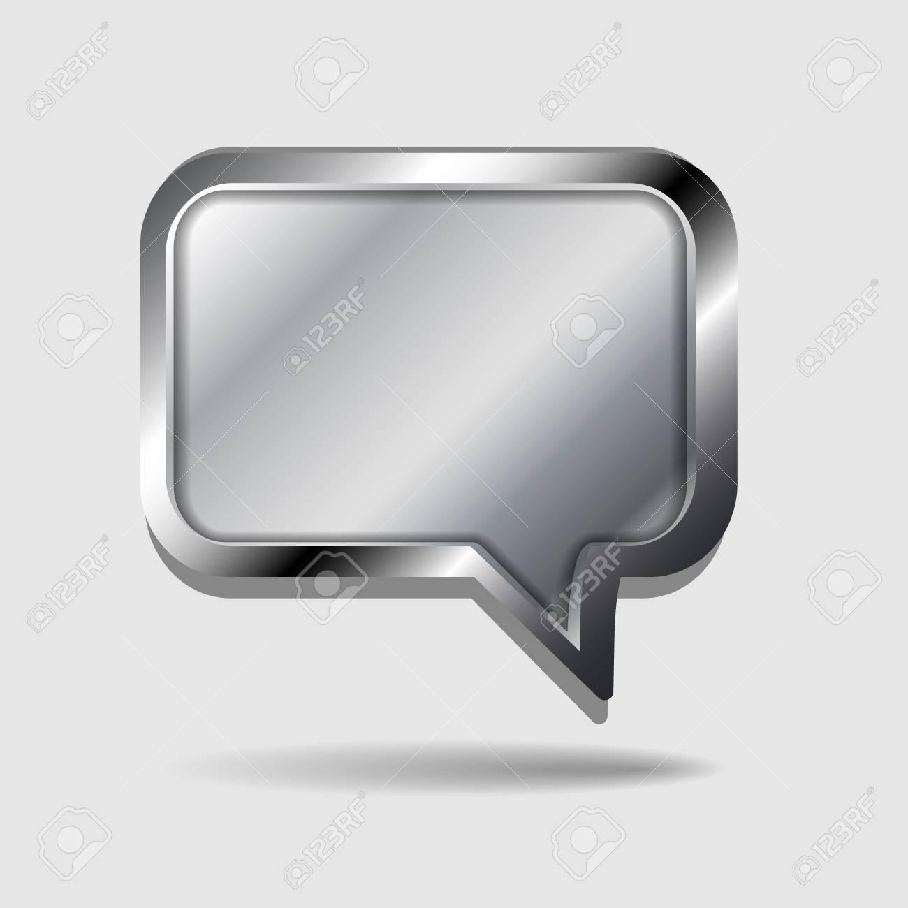 Glossy metal vector speech bubble Stock Vector - 14930078