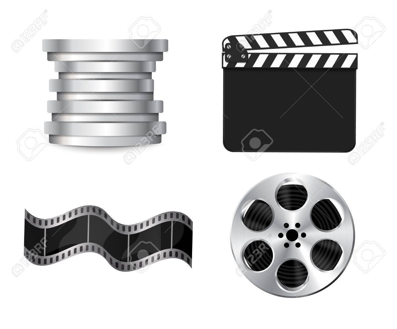 Vector  clapperboard with waving film Stock Vector - 15045883